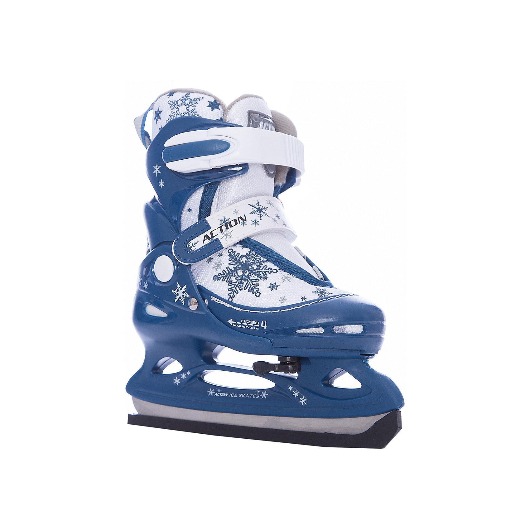Коньки ледовые раздвижные PW-211F-2, темно-синий/белый