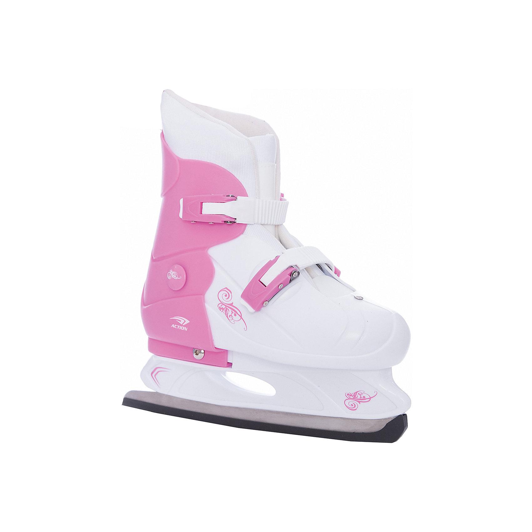 - Коньки раздвижные PW-219-1 , розовый/белый роликовые коньки детские раздвижные action pw 117n