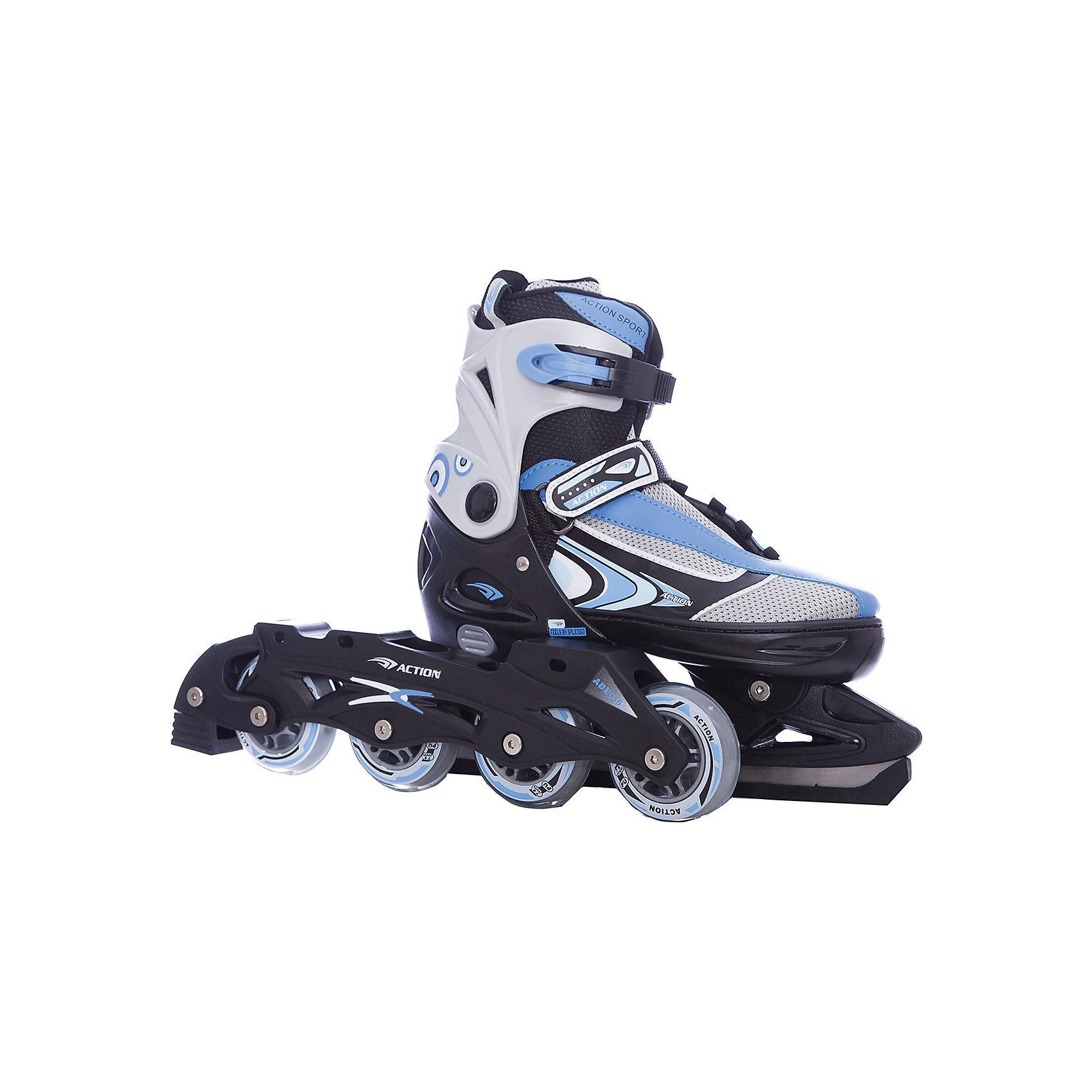 - Коньки раздвижные со сменным шасси  PW-223B-1, серый/голубой, Action роликовые коньки action pw 120p m 35 38 pink