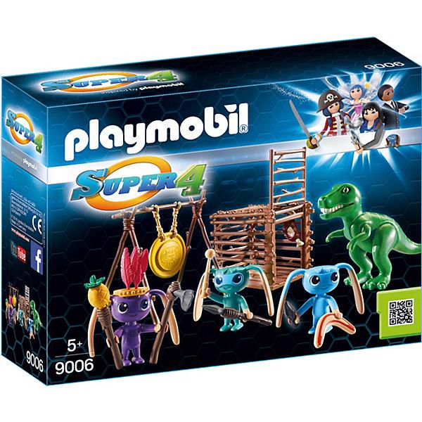Конструктор Playmobil Инопланетный воин с Т-рекс ловушкойПластмассовые конструкторы<br>Характеристики товара:<br><br>• возраст: от 5 лет;<br>• материал: пластик;<br>• в комплекте: 3 фигурки инопланетян, динозавр, аксессуары;<br>• размер упаковки: 18,7х24,8х7,2 см;<br>• вес упаковки: 260 гр.;<br>• страна бренда: Германия.<br><br>Игровой набор «Инопланетный воин с Т-рекс ловушкой» создан по мотивам известного мультсериала «Суперчетверка». В набор входят фигурки инопланетных воинов, которые охотятся за динозавром Т-Рексом. В руки инопланетян помещается оружие. Для динозавра они приготовили ловушку. Как только он попадет туда, дверь ее закроется. <br><br>Игровой набор «Инопланетный воин с Т-рекс ловушкой» можно приобрести в нашем интернет-магазине.<br>Ширина мм: 248; Глубина мм: 187; Высота мм: 72; Вес г: 220; Возраст от месяцев: 60; Возраст до месяцев: 144; Пол: Унисекс; Возраст: Детский; SKU: 5086051;