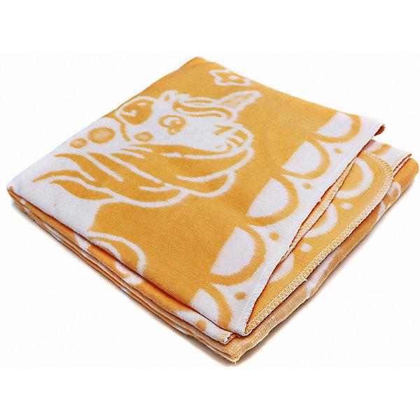 Байковое одеяло х/б 140х100 см., Топотушки, жёлтый