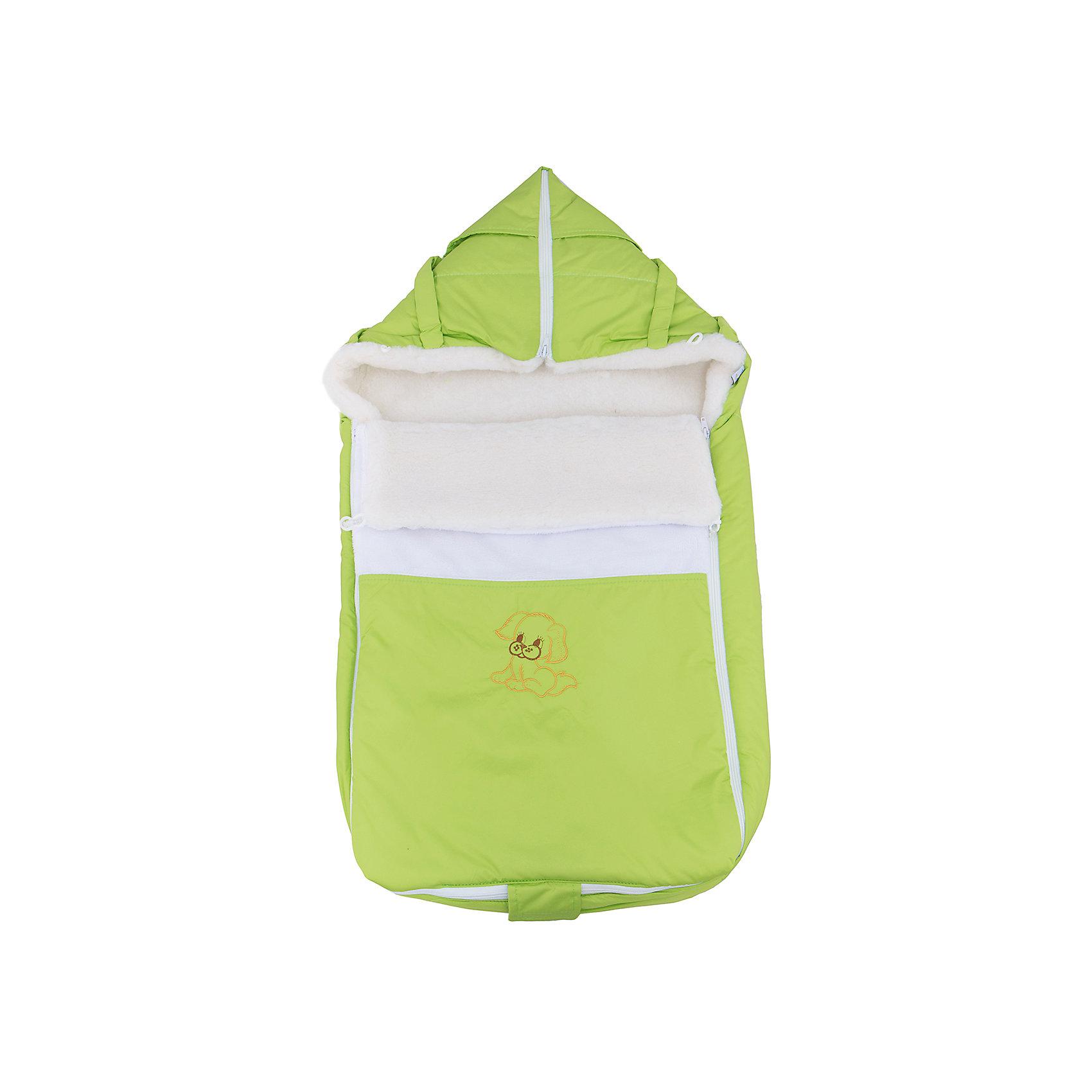 Меховой конверт Ладушка, Топотушки, зеленыйЗимние конверты<br>Меховой конверт Ладушка, Топотушки, зеленый<br><br>Характеристики:<br><br>-Возраст: от 0 до 7 месяцев<br>-Цвет: зеленый<br>-Материал: - влагостойкая ткань снаружи<br>-теплый мех внутри<br><br>Меховой конверт Ладушка, Топотушки, зеленый согреет вашего малыша в холодное время года. Благодаря материалу, конверт не промокнет при контакте с водой. Это защитить ребёнка от простуды. В то же время конверт не будет препятствовать поступлению воздуха. По бокам находятся две молнии, поэтому вы сможете быстро и удобно расстегнуть конверт, не потревожив малыша. Конверт трансформируется в плед или теплую подкладку. С меховым конвертом Ладушка прогулки вашего малыша станут теплыми и комфортными. <br><br>Меховой конверт Ладушка, Топотушки, зеленый можно приобрести в нашем интернет-магазине.<br><br>Ширина мм: 780<br>Глубина мм: 420<br>Высота мм: 50<br>Вес г: 500<br>Возраст от месяцев: 0<br>Возраст до месяцев: 7<br>Пол: Унисекс<br>Возраст: Детский<br>SKU: 5086348