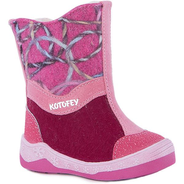 Валенки для девочки КотофейВаленки<br>Сапожки для девочки Котофей.<br><br>Характеристики:<br><br>- Внешний материал: войлок<br>- Внутренний материал: мех шерстяной из натуральной овечьей шерсти<br>- Стелька: войлок<br>- Подошва: ТЭП<br>- Тип застежки: молния<br>- Вид крепления обуви: клеевой<br>- Температурный режим до -30С<br>- Цвет: розовый, бордовый<br>- Сезон: зима<br>- Пол: для девочек<br><br>Зимние сапожки торговой марки Котофей сочетают в себе удобство и уют традиционных русских валенок с современным дизайном! Материал верха плотный войлок. Пяточная и носочная части защищены накладкой с покрытием, что придаёт модели износостойкость и защиту от химических реагентов. Материал подкладки - шерстяной мех из натуральной овечьей шерсти отлично сохраняет тепло, отводит влагу от ноги и обеспечивает дополнительный комфорт. Клеевая подошва из термоэластопласта легкая и удобная, не «дубеет» на морозе. Застежка-молния позволит легко обувать и снимать сапожки. Детская обувь «Котофей» качественна, красива, добротна, комфортна и долговечна. Она производится на Егорьевской обувной фабрике. Жесткий контроль производства и постоянное совершенствование технологий при многолетнем опыте позволяют считать компанию одним из лидеров среди отечественных производителей детской обуви.<br><br>Сапожки для девочки Котофей можно купить в нашем интернет-магазине.<br>Ширина мм: 262; Глубина мм: 176; Высота мм: 97; Вес г: 427; Цвет: белый; Возраст от месяцев: 21; Возраст до месяцев: 24; Пол: Женский; Возраст: Детский; Размер: 24,23,26,25; SKU: 5086640;