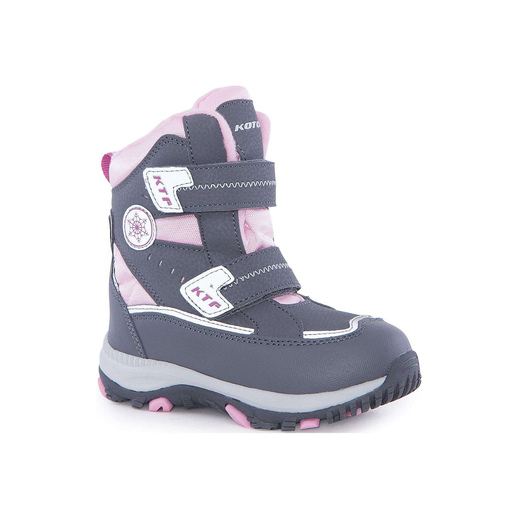Ботинки  для девочки КотофейБотинки<br>Ботинки  для девочки Котофей.<br><br>Характеристики:<br><br>- Внешний материал: искусственная кожа, текстиль<br>- Внутренний материал: мех шерстяной<br>- Стелька: войлок<br>- Подошва: филон, ТЭП<br>- Тип застежки: липучки<br>- Вид крепления обуви: клеевой<br>- Цвет: серый, розовый<br>- Сезон: зима<br>- Температурный режим: от +5 до -15 градусов<br>- Пол: для девочек<br><br>Ботинки торговой марки Котофей понравится абсолютно всем девочкам! Они особенно хороши для активных прогулок. Верх выполнен из влагоотталкивающего текстиля и кожи. Подкладка - из натуральной шерсти, имеется дополнительная стелька из войлока, поэтому ножке в такой обуви тепло и уютно. Между материалами верха и подклада вшит специальный мембранный материал, отталкивающий влагу, но позволяющий ногам дышать. Гибкая, широкая, клеевая подошва с рельефным протектором обеспечит превосходное сцепление с поверхностью. Снижение ударной нагрузки и повышенную устойчивость обеспечивает в подошве слой из материала филон, который часто используется в спортивной обуви. Вторая часть подошвы из термоэластопласта (ТЭП) – пластичного материала, отлично амортизирующего при шаге, не теряющего своих свойств при понижении температур, предотвращающего скольжение. Два ремня с липучкой позволяют не только быстро обувать и снимать ботинки, но и обеспечивают плотное прилегание обуви к стопе. Детская обувь «Котофей» качественна, красива, добротна, комфортна и долговечна. Она производится на Егорьевской обувной фабрике. Жесткий контроль производства и постоянное совершенствование технологий при многолетнем опыте позволяют считать компанию одним из лидеров среди отечественных производителей детской обуви.<br><br>Ботинки  для девочки Котофей можно купить в нашем интернет-магазине.<br><br>Ширина мм: 262<br>Глубина мм: 176<br>Высота мм: 97<br>Вес г: 427<br>Цвет: разноцветный<br>Возраст от месяцев: 36<br>Возраст до месяцев: 48<br>Пол: Женский<br>Возраст: Детский<br>Размер: 27,30,26,29,28<br>SKU: