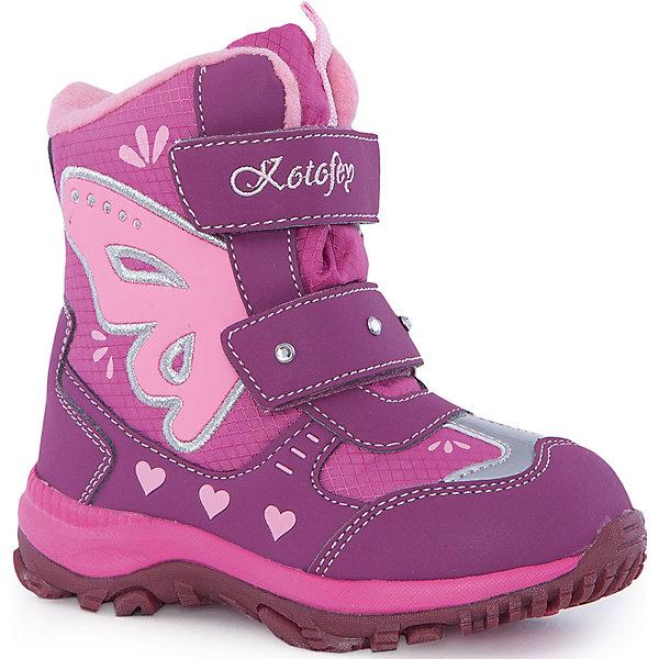 Ботинки  для девочки КотофейБотинки<br>Ботинки  для девочки Котофей.<br><br>Характеристики:<br><br>- Внешний материал: искусственная кожа, текстиль<br>- Внутренний материал: мех шерстяной<br>- Стелька: войлок<br>- Подошва: филон, ТЭП<br>- Тип застежки: липучки<br>- Вид крепления обуви: клеевой<br>- Цвет: фуксия, розовый<br>- Сезон: зима<br>- Температурный режим: от +5 до -15 градусов<br>- Пол: для девочек<br><br>Ботинки торговой марки Котофей понравится абсолютно всем девочкам! Они особенно хороши для активных прогулок. Верх выполнен из влагоотталкивающего текстиля и кожи. Подкладка - из натуральной шерсти, имеется дополнительная стелька из войлока, поэтому ножке в такой обуви тепло и уютно. Между материалами верха и подклада вшит специальный мембранный материал, отталкивающий влагу, но позволяющий ногам дышать. Гибкая, широкая, клеевая подошва с рельефным протектором обеспечит превосходное сцепление с поверхностью. Снижение ударной нагрузки и повышенную устойчивость обеспечивает в подошве слой из материала филон, который часто используется в спортивной обуви. Вторая часть подошвы из термоэластопласта (ТЭП) – пластичного материала, отлично амортизирующего при шаге, не теряющего своих свойств при понижении температур, предотвращающего скольжение. Два ремня с липучкой позволяют не только быстро обувать и снимать ботинки, но и обеспечивают плотное прилегание обуви к стопе. Детская обувь «Котофей» качественна, красива, добротна, комфортна и долговечна. Она производится на Егорьевской обувной фабрике. Жесткий контроль производства и постоянное совершенствование технологий при многолетнем опыте позволяют считать компанию одним из лидеров среди отечественных производителей детской обуви.<br><br>Ботинки  для девочки Котофей можно купить в нашем интернет-магазине.<br><br>Ширина мм: 262<br>Глубина мм: 176<br>Высота мм: 97<br>Вес г: 427<br>Цвет: белый<br>Возраст от месяцев: 24<br>Возраст до месяцев: 36<br>Пол: Женский<br>Возраст: Детский<br>Размер: 26,30,29,28,27<br>SKU: 50867