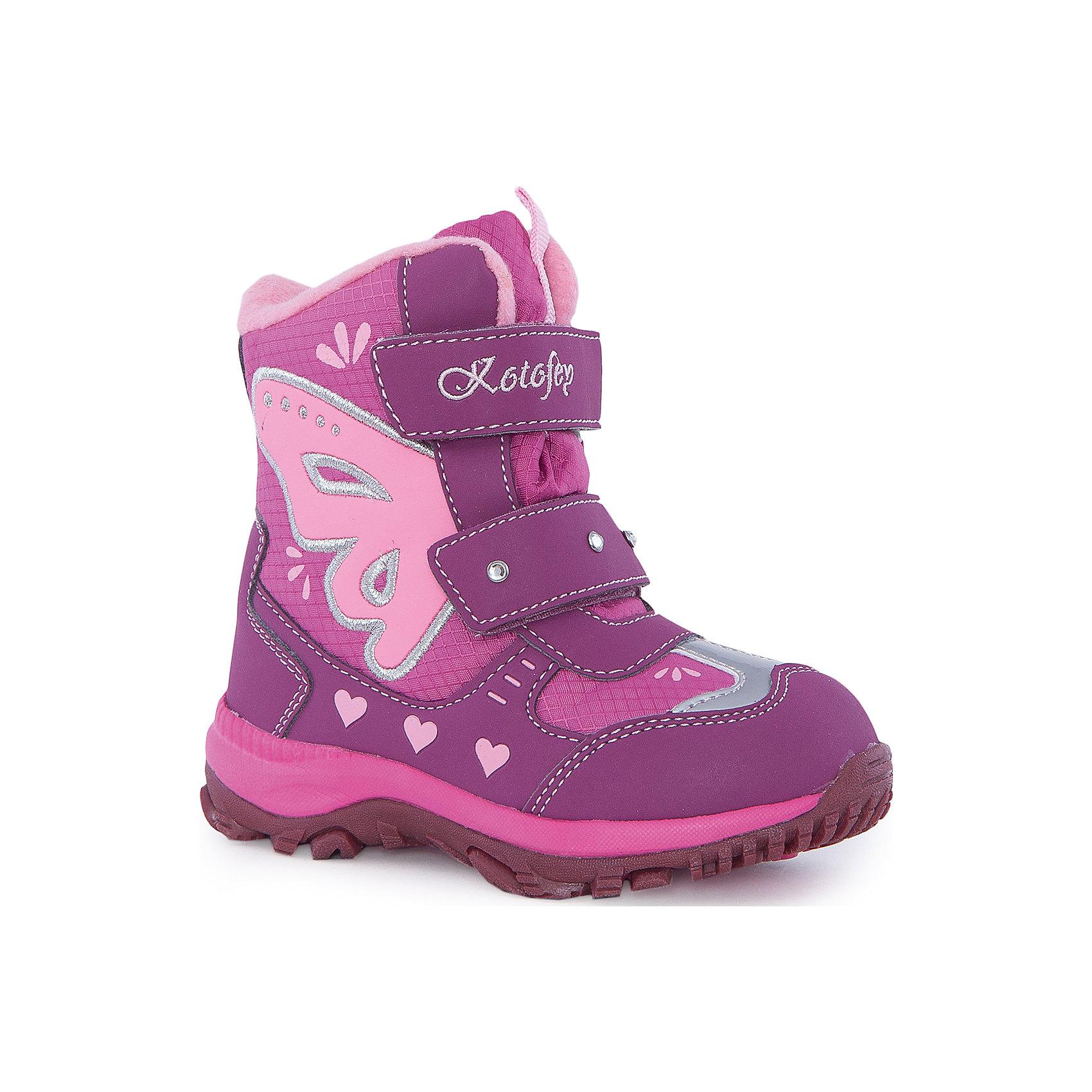 Ботинки  для девочки КотофейБотинки<br>Ботинки  для девочки Котофей.<br><br>Характеристики:<br><br>- Внешний материал: искусственная кожа, текстиль<br>- Внутренний материал: мех шерстяной<br>- Стелька: войлок<br>- Подошва: филон, ТЭП<br>- Тип застежки: липучки<br>- Вид крепления обуви: клеевой<br>- Цвет: фуксия, розовый<br>- Сезон: зима<br>- Температурный режим: от +5 до -15 градусов<br>- Пол: для девочек<br><br>Ботинки торговой марки Котофей понравится абсолютно всем девочкам! Они особенно хороши для активных прогулок. Верх выполнен из влагоотталкивающего текстиля и кожи. Подкладка - из натуральной шерсти, имеется дополнительная стелька из войлока, поэтому ножке в такой обуви тепло и уютно. Между материалами верха и подклада вшит специальный мембранный материал, отталкивающий влагу, но позволяющий ногам дышать. Гибкая, широкая, клеевая подошва с рельефным протектором обеспечит превосходное сцепление с поверхностью. Снижение ударной нагрузки и повышенную устойчивость обеспечивает в подошве слой из материала филон, который часто используется в спортивной обуви. Вторая часть подошвы из термоэластопласта (ТЭП) – пластичного материала, отлично амортизирующего при шаге, не теряющего своих свойств при понижении температур, предотвращающего скольжение. Два ремня с липучкой позволяют не только быстро обувать и снимать ботинки, но и обеспечивают плотное прилегание обуви к стопе. Детская обувь «Котофей» качественна, красива, добротна, комфортна и долговечна. Она производится на Егорьевской обувной фабрике. Жесткий контроль производства и постоянное совершенствование технологий при многолетнем опыте позволяют считать компанию одним из лидеров среди отечественных производителей детской обуви.<br><br>Ботинки  для девочки Котофей можно купить в нашем интернет-магазине.<br><br>Ширина мм: 262<br>Глубина мм: 176<br>Высота мм: 97<br>Вес г: 427<br>Цвет: разноцветный<br>Возраст от месяцев: 24<br>Возраст до месяцев: 36<br>Пол: Женский<br>Возраст: Детский<br>Размер: 26,30,27,28,29<br>SKU