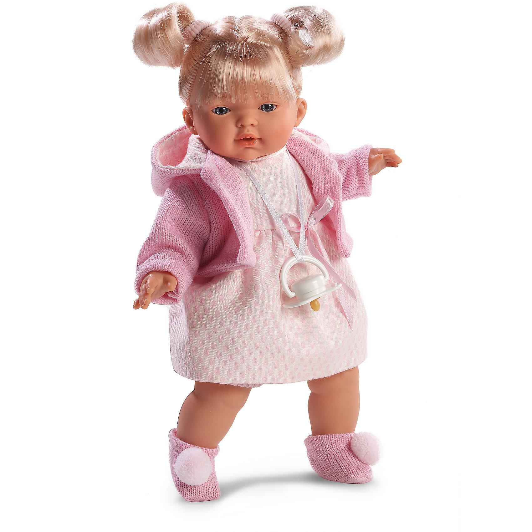 Кукла Мария, 33 см, LlorensКуклы<br>Характеристики:<br><br>• Предназначение: для сюжетно-ролевых игр<br>• Тип куклы: мягконабивная<br>• Пол куклы: девочка <br>• Цвет волос: блондинка<br>• Материал: поливинилхлорид, пластик, нейлон, текстиль<br>• Цвет: розовый, белый<br>• Высота куклы: 33 см<br>• Комплектация: кукла, платье, жакет с капюшоном, носочки, пустышка на ленточке<br>• Вес: 660 г<br>• Размеры упаковки (Д*В*Ш): 20*37*10 см<br>• Упаковка: подарочная картонная коробка <br>• Особенности ухода: допускается деликатная стирка без использования красящих и отбеливающих средств предметов одежды куклы<br><br>Кукла Мария 33 см без звука – кукла, производителем которого является всемирно известный испанский кукольный бренд Llorens. Куклы этой торговой марки имеют свою неповторимую внешность и целую линейку образов как пупсов, так и кукол-малышей. Игрушки выполнены из сочетания поливинилхлорида и пластика, что позволяет с высокой долей достоверности воссоздать физиологические и мимические особенности маленьких детей. При изготовлении кукол Llorens используются только сертифицированные материалы, безопасные и не вызывающие аллергических реакций. Волосы у кукол отличаются густотой, шелковистостью и блеском, при расчесывании они не выпадают и не ломаются.<br>Кукла Мария 33 см без звука выполнена в образе малышки: блондинка с голубыми глазами и задорными хвостиками. В комплект одежды Марии входит платьице, жакет нежно-зеленого цвета с капюшоном и носочки с помпонами. У малышки имеется соска на ленточке. <br>Кукла Мария 33 см без звука – это идеальный вариант для подарка к различным праздникам и торжествам.<br><br>Куклу Марию 33 см без звука можно купить в нашем интернет-магазине.<br><br>Ширина мм: 20<br>Глубина мм: 37<br>Высота мм: 10<br>Вес г: 660<br>Возраст от месяцев: 36<br>Возраст до месяцев: 84<br>Пол: Женский<br>Возраст: Детский<br>SKU: 5086890