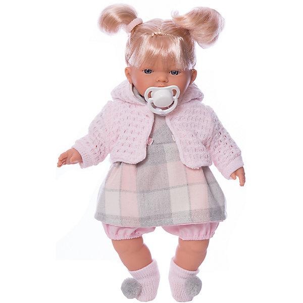 Кукла Аитана, 33 см, LlorensКуклы<br>Характеристики:<br><br>• Предназначение: для сюжетно-ролевых игр<br>• Тип куклы: мягконабивная<br>• Пол куклы: девочка <br>• Цвет волос: блондинка<br>• Материал: поливинилхлорид, пластик, нейлон, текстиль<br>• Цвет: серый, розовый<br>• Высота куклы: 33 см<br>• Комплектация: кукла, платье, курточка, носочки, пустышка<br>• Звуковые эффекты: плачет, произносит мама и папа<br>• Батарейки: з шт. типа AG13/LR44 (предусмотрены в комплекте)<br>• Вес: 660 г<br>• Размеры упаковки (Д*В*Ш): 20*37*10 см<br>• Упаковка: подарочная картонная коробка <br>• Особенности ухода: допускается деликатная стирка без использования красящих и отбеливающих средств предметов одежды куклы<br><br>Кукла Аитана 33 см – кукла, производителем которого является всемирно известный испанский кукольный бренд Llorens. Куклы этой торговой марки имеют свою неповторимую внешность и целую линейку образов как пупсов, так и кукол-малышей. Игрушки выполнены из сочетания поливинилхлорида и пластика, что позволяет с высокой долей достоверности воссоздать физиологические и мимические особенности маленьких детей. При изготовлении кукол Llorens используются только сертифицированные материалы, безопасные и не вызывающие аллергических реакций. Волосы у кукол отличаются густотой, шелковистостью и блеском, при расчесывании они не выпадают и не ломаются.<br>Кукла Аитана 33 см выполнена в образе малышки: блондинка с голубыми глазами и задорными хвостиками. В комплект одежды Аитаны входит теплое клетчатое платьице, короткие панталончики, трикотажная курточка и носочки с помпонами. Аитана умеет плакать, а также говорить мама и папа. Чтобы малышка не плакала, у нее имеется соска на атласной ленточке. <br>Кукла Аитана 33 см – это идеальный вариант для подарка к различным праздникам и торжествам.<br><br>Куклу Аитану 33 см можно купить в нашем интернет-магазине.<br>Ширина мм: 20; Глубина мм: 37; Высота мм: 10; Вес г: 660; Возраст от месяцев: 36; Возраст до месяцев: 84; Пол: Женский; Возраст: 