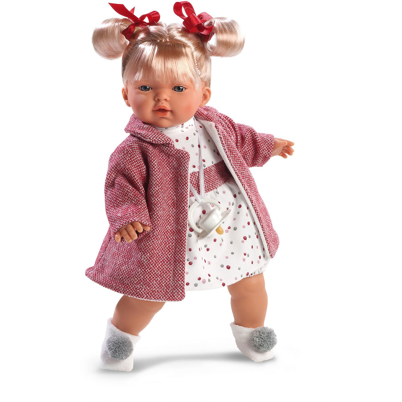 Кукла Татьяна, 33 см, LlorensКуклы<br>Характеристики:<br><br>• Предназначение: для сюжетно-ролевых игр<br>• Тип куклы: мягконабивная<br>• Пол куклы: девочка <br>• Цвет волос: блондинка<br>• Материал: поливинилхлорид, пластик, нейлон, текстиль<br>• Цвет: оттенки розового, белый, красный, серый<br>• Высота куклы: 33 см<br>• Комплектация: кукла, платье, твидовое пальто, носочки, пустышка на ленточке<br>• Вес: 660 г<br>• Размеры упаковки (Д*В*Ш): 20*37*10 см<br>• Упаковка: подарочная картонная коробка <br>• Особенности ухода: допускается деликатная стирка без использования красящих и отбеливающих средств предметов одежды куклы<br><br>Кукла Татьяна 33 см без звука – кукла, производителем которого является всемирно известный испанский кукольный бренд Llorens. Куклы этой торговой марки имеют свою неповторимую внешность и целую линейку образов как пупсов, так и кукол-малышей. Игрушки выполнены из сочетания поливинилхлорида и пластика, что позволяет с высокой долей достоверности воссоздать физиологические и мимические особенности маленьких детей. При изготовлении кукол Llorens используются только сертифицированные материалы, безопасные и не вызывающие аллергических реакций. Волосы у кукол отличаются густотой, шелковистостью и блеском, при расчесывании они не выпадают и не ломаются.<br>Кукла Татьяна 33 см без звука выполнена в образе малышки: блондинка с голубыми глазами и задорными хвостиками, которые завязаны красными ленточками. В комплект одежды Татьяны входит платьице в разноцветный горох, твидовое пальто розового цвета и белые носочки с серыми помпонами. У малышки имеется соска на ленточке. <br>Кукла Татьяна 33 см без звука – это идеальный вариант для подарка к различным праздникам и торжествам.<br><br>Куклу Татьяну 33 см без звука можно купить в нашем интернет-магазине.<br><br>Ширина мм: 20<br>Глубина мм: 37<br>Высота мм: 10<br>Вес г: 660<br>Возраст от месяцев: 36<br>Возраст до месяцев: 84<br>Пол: Женский<br>Возраст: Детский<br>SKU: 5086893