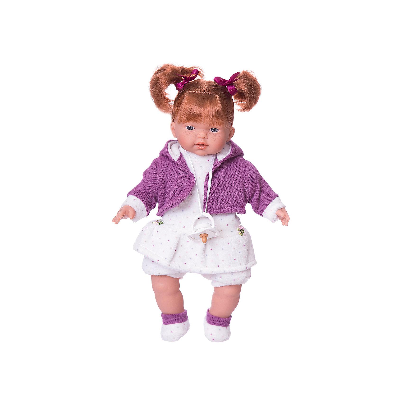 Кукла Алиса, 33 см, LlorensКлассические куклы<br>Характеристики:<br><br>• Предназначение: для сюжетно-ролевых игр<br>• Тип куклы: мягконабивная<br>• Пол куклы: девочка <br>• Цвет волос: шатенка<br>• Материал: поливинилхлорид, пластик, нейлон, текстиль<br>• Цвет: розовый, белый<br>• Высота куклы: 33 см<br>• Комплектация: кукла, платье, курточка, носочки, пустышка<br>• Звуковые эффекты: плачет, произносит мама и папа<br>• Батарейки: з шт. типа AG13/LR44 (предусмотрены в комплекте)<br>• Вес: 660 г<br>• Размеры упаковки (Д*В*Ш): 20*37*10 см<br>• Упаковка: подарочная картонная коробка <br>• Особенности ухода: допускается деликатная стирка без использования красящих и отбеливающих средств предметов одежды куклы<br><br>Кукла Алиса 33 см – кукла, производителем которого является всемирно известный испанский кукольный бренд Llorens. Куклы этой торговой марки имеют свою неповторимую внешность и целую линейку образов как пупсов, так и кукол-малышей. Игрушки выполнены из сочетания поливинилхлорида и пластика, что позволяет с высокой долей достоверности воссоздать физиологические и мимические особенности маленьких детей. При изготовлении кукол Llorens используются только сертифицированные материалы, безопасные и не вызывающие аллергических реакций. Волосы у кукол отличаются густотой, шелковистостью и блеском, при расчесывании они не выпадают и не ломаются.<br>Кукла Алиса 33 см выполнена в образе малышки: голубые глаза, веснушки и задорные короткие хвостики делают образ куклы необычайно очаровательным. В комплект одежды Алисы входит теплое платьице в горошек, короткие панталончики, вязаная кофточка с капюшоном и пинеточки. Алиса умеет плакать, а также говорить мама и папа. Чтобы малышка не плакала, у нее имеется соска на атласной ленточке. <br>Кукла Алиса 33 см – это идеальный вариант для подарка к различным праздникам и торжествам.<br><br>Куклу Алису 33 см можно купить в нашем интернет-магазине.<br><br>Ширина мм: 20<br>Глубина мм: 37<br>Высота мм: 10<br>Вес г: 660<br>Возраст от 