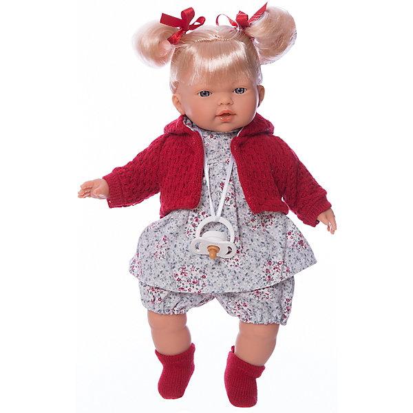 Кукла Изабела, 33 см, LlorensБренды кукол<br>Характеристики:<br><br>• Предназначение: для сюжетно-ролевых игр<br>• Тип куклы: мягконабивная<br>• Пол куклы: девочка <br>• Цвет волос: блондинка<br>• Материал: поливинилхлорид, пластик, нейлон, текстиль<br>• Цвет: красный, белый, серый, розовый<br>• Высота куклы: 33 см<br>• Комплектация: кукла, платье, кофточка с капюшоном, носочки, пустышка на ленточке<br>• Звуковые эффекты: плачет, произносит мама и папа<br>• Батарейки: з шт. типа AG13/LR44 (предусмотрены в комплекте)<br>• Вес: 660 г<br>• Размеры упаковки (Д*В*Ш): 20*37*10 см<br>• Упаковка: подарочная картонная коробка <br>• Особенности ухода: допускается деликатная стирка без использования красящих и отбеливающих средств предметов одежды куклы<br><br>Кукла Изабела 33 см – кукла, производителем которого является всемирно известный испанский кукольный бренд Llorens. Куклы этой торговой марки имеют свою неповторимую внешность и целую линейку образов как пупсов, так и кукол-малышей. Игрушки выполнены из сочетания поливинилхлорида и пластика, что позволяет с высокой долей достоверности воссоздать физиологические и мимические особенности маленьких детей. При изготовлении кукол Llorens используются только сертифицированные материалы, безопасные и не вызывающие аллергических реакций. Волосы у кукол отличаются густотой, шелковистостью и блеском, при расчесывании они не выпадают и не ломаются.<br>Кукла Изабела 33 см выполнена в образе малышки: голубые глаза и задорные короткие хвостики делают образ куклы необычайно очаровательным. В комплект одежды Изабелы входит легкое платьице в цветочек, короткие панталончики, теплая кофточка с капюшоном и носочки. Изабела умеет плакать, а также говорить мама и папа. Чтобы малышка не плакала, у нее имеется соска на атласной ленточке. <br>Кукла Изабела 33 см – это идеальный вариант для подарка к различным праздникам и торжествам.<br><br>Куклу Изабелу 33 см можно купить в нашем интернет-магазине.<br><br>Ширина мм: 20<br>Глубина мм: 37<br>Высо