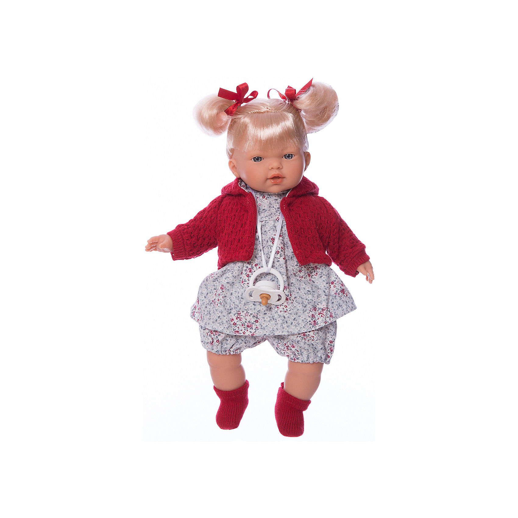 Кукла Изабела, 33 см, LlorensХарактеристики:<br><br>• Предназначение: для сюжетно-ролевых игр<br>• Тип куклы: мягконабивная<br>• Пол куклы: девочка <br>• Цвет волос: блондинка<br>• Материал: поливинилхлорид, пластик, нейлон, текстиль<br>• Цвет: красный, белый, серый, розовый<br>• Высота куклы: 33 см<br>• Комплектация: кукла, платье, кофточка с капюшоном, носочки, пустышка на ленточке<br>• Звуковые эффекты: плачет, произносит мама и папа<br>• Батарейки: з шт. типа AG13/LR44 (предусмотрены в комплекте)<br>• Вес: 660 г<br>• Размеры упаковки (Д*В*Ш): 20*37*10 см<br>• Упаковка: подарочная картонная коробка <br>• Особенности ухода: допускается деликатная стирка без использования красящих и отбеливающих средств предметов одежды куклы<br><br>Кукла Изабела 33 см – кукла, производителем которого является всемирно известный испанский кукольный бренд Llorens. Куклы этой торговой марки имеют свою неповторимую внешность и целую линейку образов как пупсов, так и кукол-малышей. Игрушки выполнены из сочетания поливинилхлорида и пластика, что позволяет с высокой долей достоверности воссоздать физиологические и мимические особенности маленьких детей. При изготовлении кукол Llorens используются только сертифицированные материалы, безопасные и не вызывающие аллергических реакций. Волосы у кукол отличаются густотой, шелковистостью и блеском, при расчесывании они не выпадают и не ломаются.<br>Кукла Изабела 33 см выполнена в образе малышки: голубые глаза и задорные короткие хвостики делают образ куклы необычайно очаровательным. В комплект одежды Изабелы входит легкое платьице в цветочек, короткие панталончики, теплая кофточка с капюшоном и носочки. Изабела умеет плакать, а также говорить мама и папа. Чтобы малышка не плакала, у нее имеется соска на атласной ленточке. <br>Кукла Изабела 33 см – это идеальный вариант для подарка к различным праздникам и торжествам.<br><br>Куклу Изабелу 33 см можно купить в нашем интернет-магазине.<br><br>Ширина мм: 20<br>Глубина мм: 37<br>Высота мм: 10<br>Вес