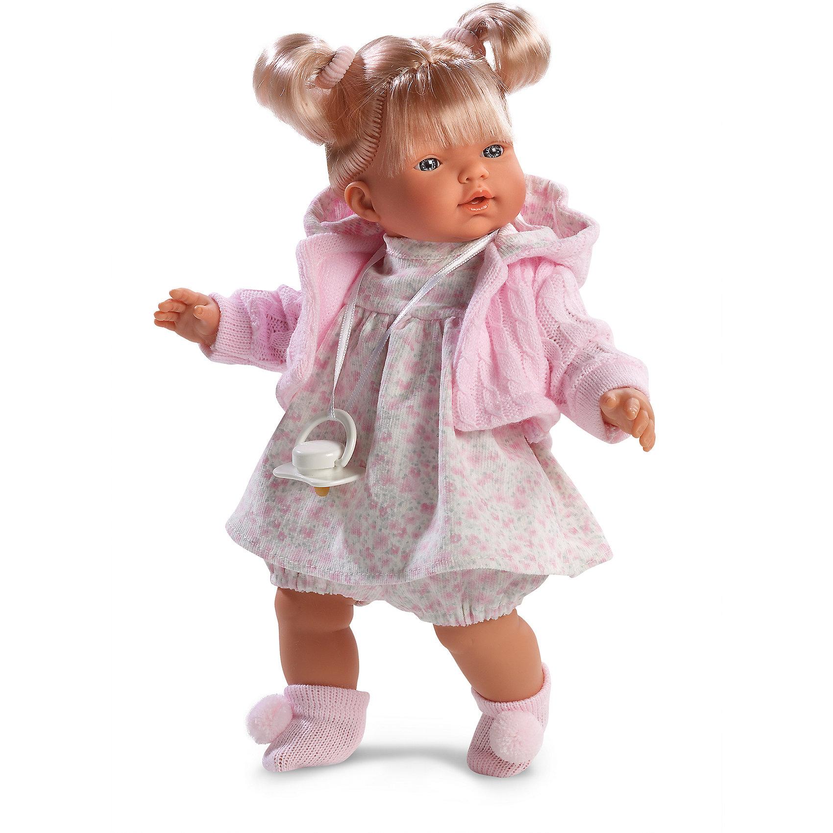 Кукла Хейди, 33 см, LlorensКлассические куклы<br>Характеристики:<br><br>• Предназначение: для сюжетно-ролевых игр<br>• Тип куклы: мягконабивная<br>• Пол куклы: девочка <br>• Цвет волос: блондинка<br>• Материал: поливинилхлорид, пластик, нейлон, текстиль<br>• Цвет: розовый, белый, серый<br>• Высота куклы: 33 см<br>• Комплектация: кукла, платье, вязаная кофточка с капюшоном, носочки, пустышка на ленточке<br>• Вес: 660 г<br>• Размеры упаковки (Д*В*Ш): 20*37*10 см<br>• Упаковка: подарочная картонная коробка <br>• Особенности ухода: допускается деликатная стирка без использования красящих и отбеливающих средств предметов одежды куклы<br><br>Кукла Хейди 33 см без звука – кукла, производителем которого является всемирно известный испанский кукольный бренд Llorens. Куклы этой торговой марки имеют свою неповторимую внешность и целую линейку образов как пупсов, так и кукол-малышей. Игрушки выполнены из сочетания поливинилхлорида и пластика, что позволяет с высокой долей достоверности воссоздать физиологические и мимические особенности маленьких детей. При изготовлении кукол Llorens используются только сертифицированные материалы, безопасные и не вызывающие аллергических реакций. Волосы у кукол отличаются густотой, шелковистостью и блеском, при расчесывании они не выпадают и не ломаются.<br>Кукла Хейди 33 см без звука выполнена в образе малышки: блондинка с голубыми глазами и задорными хвостиками, которые собраны розовыми резиночками. В комплект одежды Хейди входит платьице в нежный цветочный принт, вязаная кофточка с капюшоном и носочки с помпонами. У малышки имеется соска на ленточке. <br>Кукла Хейди 33 см без звука – это идеальный вариант для подарка к различным праздникам и торжествам.<br><br>Куклу Хейди 33 см без звука можно купить в нашем интернет-магазине.<br><br>Ширина мм: 20<br>Глубина мм: 37<br>Высота мм: 10<br>Вес г: 660<br>Возраст от месяцев: 36<br>Возраст до месяцев: 84<br>Пол: Женский<br>Возраст: Детский<br>SKU: 5086896