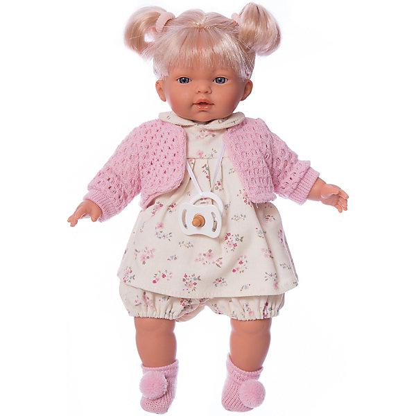 Кукла Ариана, 33 см, LlorensКуклы<br>Характеристики:<br><br>• Предназначение: для сюжетно-ролевых игр<br>• Тип куклы: мягконабивная<br>• Пол куклы: девочка <br>• Цвет волос: блондинка<br>• Материал: поливинилхлорид, пластик, нейлон, текстиль<br>• Цвет: красный, белый, серый, розовый<br>• Высота куклы: 33 см<br>• Комплектация: кукла, платье, кофточка, носочки, пустышка на ленточке<br>• Звуковые эффекты: плачет, произносит мама и папа<br>• Батарейки: з шт. типа AG13/LR44 (предусмотрены в комплекте)<br>• Вес: 660 г<br>• Размеры упаковки (Д*В*Ш): 20*37*10 см<br>• Упаковка: подарочная картонная коробка <br>• Особенности ухода: допускается деликатная стирка без использования красящих и отбеливающих средств предметов одежды куклы<br><br>Кукла Ариана 33 см – кукла, производителем которого является всемирно известный испанский кукольный бренд Llorens. Куклы этой торговой марки имеют свою неповторимую внешность и целую линейку образов как пупсов, так и кукол-малышей. Игрушки выполнены из сочетания поливинилхлорида и пластика, что позволяет с высокой долей достоверности воссоздать физиологические и мимические особенности маленьких детей. При изготовлении кукол Llorens используются только сертифицированные материалы, безопасные и не вызывающие аллергических реакций. Волосы у кукол отличаются густотой, шелковистостью и блеском, при расчесывании они не выпадают и не ломаются.<br>Кукла Ариана 33 см выполнена в образе малышки: голубые глаза и задорные короткие хвостики делают образ куклы необычайно очаровательным. В комплект одежды Арианы входит легкое платьице в цветочек с отложным воротничком, короткие панталончики, теплая кофточка и носочки с помпончиками. Ариана умеет плакать, а также говорить мама и папа. Чтобы малышка не плакала, у нее имеется соска на атласной ленточке. <br>Кукла Ариана 33 см – это идеальный вариант для подарка к различным праздникам и торжествам.<br><br>Куклу Ариану 33 см можно купить в нашем интернет-магазине.<br><br>Ширина мм: 20<br>Глубина мм: 37<br>Высо