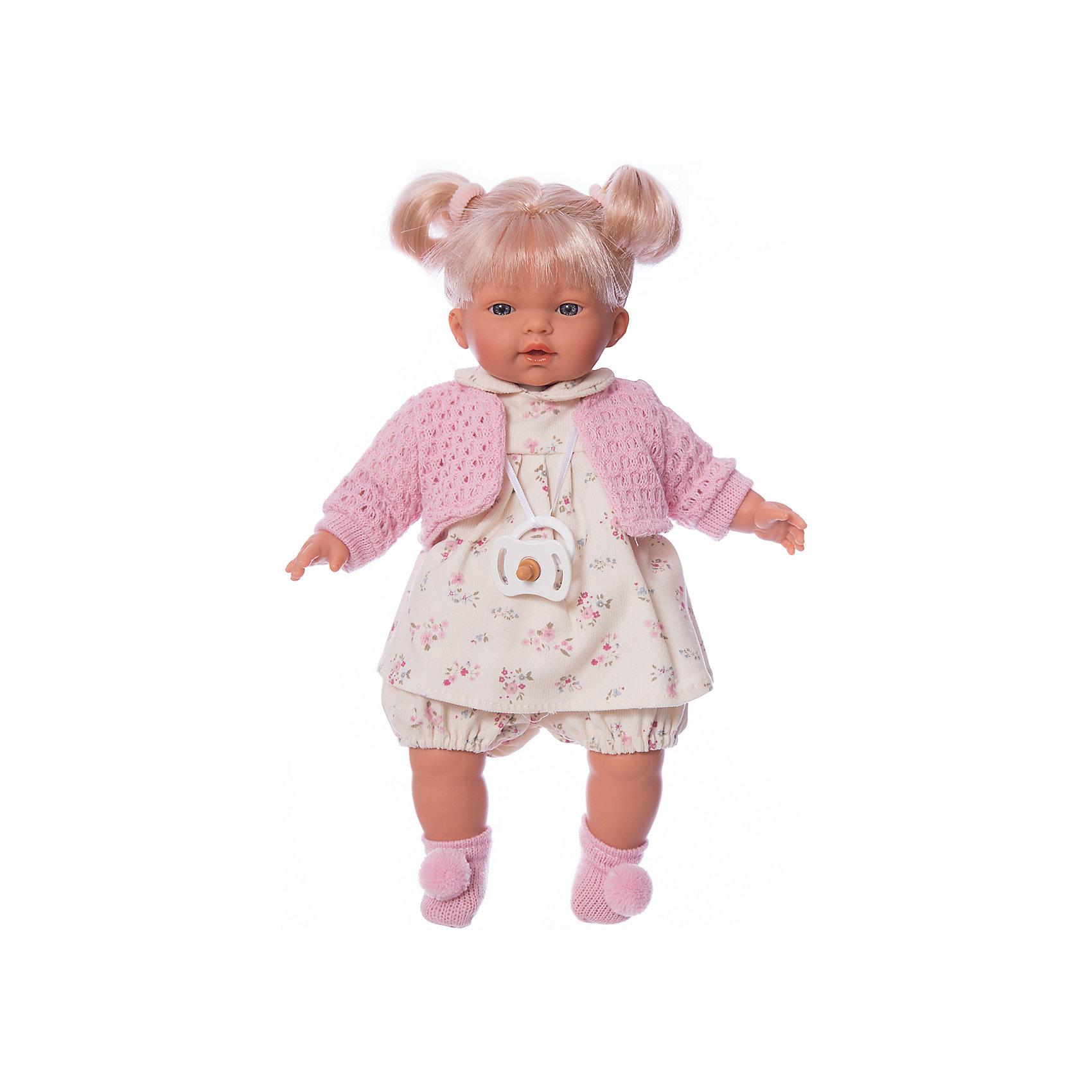 Кукла Ариана, 33 см, LlorensБренды кукол<br>Характеристики:<br><br>• Предназначение: для сюжетно-ролевых игр<br>• Тип куклы: мягконабивная<br>• Пол куклы: девочка <br>• Цвет волос: блондинка<br>• Материал: поливинилхлорид, пластик, нейлон, текстиль<br>• Цвет: красный, белый, серый, розовый<br>• Высота куклы: 33 см<br>• Комплектация: кукла, платье, кофточка, носочки, пустышка на ленточке<br>• Звуковые эффекты: плачет, произносит мама и папа<br>• Батарейки: з шт. типа AG13/LR44 (предусмотрены в комплекте)<br>• Вес: 660 г<br>• Размеры упаковки (Д*В*Ш): 20*37*10 см<br>• Упаковка: подарочная картонная коробка <br>• Особенности ухода: допускается деликатная стирка без использования красящих и отбеливающих средств предметов одежды куклы<br><br>Кукла Ариана 33 см – кукла, производителем которого является всемирно известный испанский кукольный бренд Llorens. Куклы этой торговой марки имеют свою неповторимую внешность и целую линейку образов как пупсов, так и кукол-малышей. Игрушки выполнены из сочетания поливинилхлорида и пластика, что позволяет с высокой долей достоверности воссоздать физиологические и мимические особенности маленьких детей. При изготовлении кукол Llorens используются только сертифицированные материалы, безопасные и не вызывающие аллергических реакций. Волосы у кукол отличаются густотой, шелковистостью и блеском, при расчесывании они не выпадают и не ломаются.<br>Кукла Ариана 33 см выполнена в образе малышки: голубые глаза и задорные короткие хвостики делают образ куклы необычайно очаровательным. В комплект одежды Арианы входит легкое платьице в цветочек с отложным воротничком, короткие панталончики, теплая кофточка и носочки с помпончиками. Ариана умеет плакать, а также говорить мама и папа. Чтобы малышка не плакала, у нее имеется соска на атласной ленточке. <br>Кукла Ариана 33 см – это идеальный вариант для подарка к различным праздникам и торжествам.<br><br>Куклу Ариану 33 см можно купить в нашем интернет-магазине.<br><br>Ширина мм: 20<br>Глубина мм: 37<