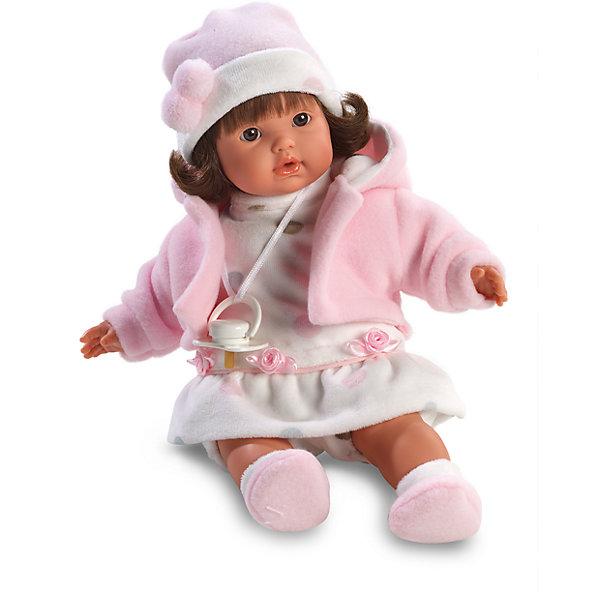 Кукла София, 33 см, LlorensБренды кукол<br>Характеристики:<br><br>• Предназначение: для сюжетно-ролевых игр<br>• Тип куклы: мягконабивная<br>• Пол куклы: девочка <br>• Цвет волос: брюнетка<br>• Материал: поливинилхлорид, пластик, нейлон, текстиль<br>• Цвет: розовый, белый<br>• Высота куклы: 33 см<br>• Комплектация: кукла, платье, курточка, шапочка, носочки, пустышка на ленточке<br>• Вес: 660 г<br>• Размеры упаковки (Д*В*Ш): 20*37*10 см<br>• Упаковка: подарочная картонная коробка <br>• Особенности ухода: допускается деликатная стирка без использования красящих и отбеливающих средств предметов одежды куклы<br><br>Кукла София 33 см без звука – кукла, производителем которого является всемирно известный испанский кукольный бренд Llorens. Куклы этой торговой марки имеют свою неповторимую внешность и целую линейку образов как пупсов, так и кукол-малышей. Игрушки выполнены из сочетания поливинилхлорида и пластика, что позволяет с высокой долей достоверности воссоздать физиологические и мимические особенности маленьких детей. При изготовлении кукол Llorens используются только сертифицированные материалы, безопасные и не вызывающие аллергических реакций. Волосы у кукол отличаются густотой, шелковистостью и блеском, при расчесывании они не выпадают и не ломаются.<br>Кукла София 33 см без звука выполнена в образе малышки: брюнетка с карими глазами и слегка завитыми волосами средней длины. В комплект одежды Софии входит белое платьице, флисовая курточка, шапочка с помпонами и пинетки. У малышки имеется соска на ленточке. <br>Кукла София 33 см без звука – это идеальный вариант для подарка к различным праздникам и торжествам.<br><br>Куклу Софию 33 см без звука можно купить в нашем интернет-магазине.<br><br>Ширина мм: 20<br>Глубина мм: 37<br>Высота мм: 10<br>Вес г: 660<br>Возраст от месяцев: 36<br>Возраст до месяцев: 84<br>Пол: Женский<br>Возраст: Детский<br>SKU: 5086898
