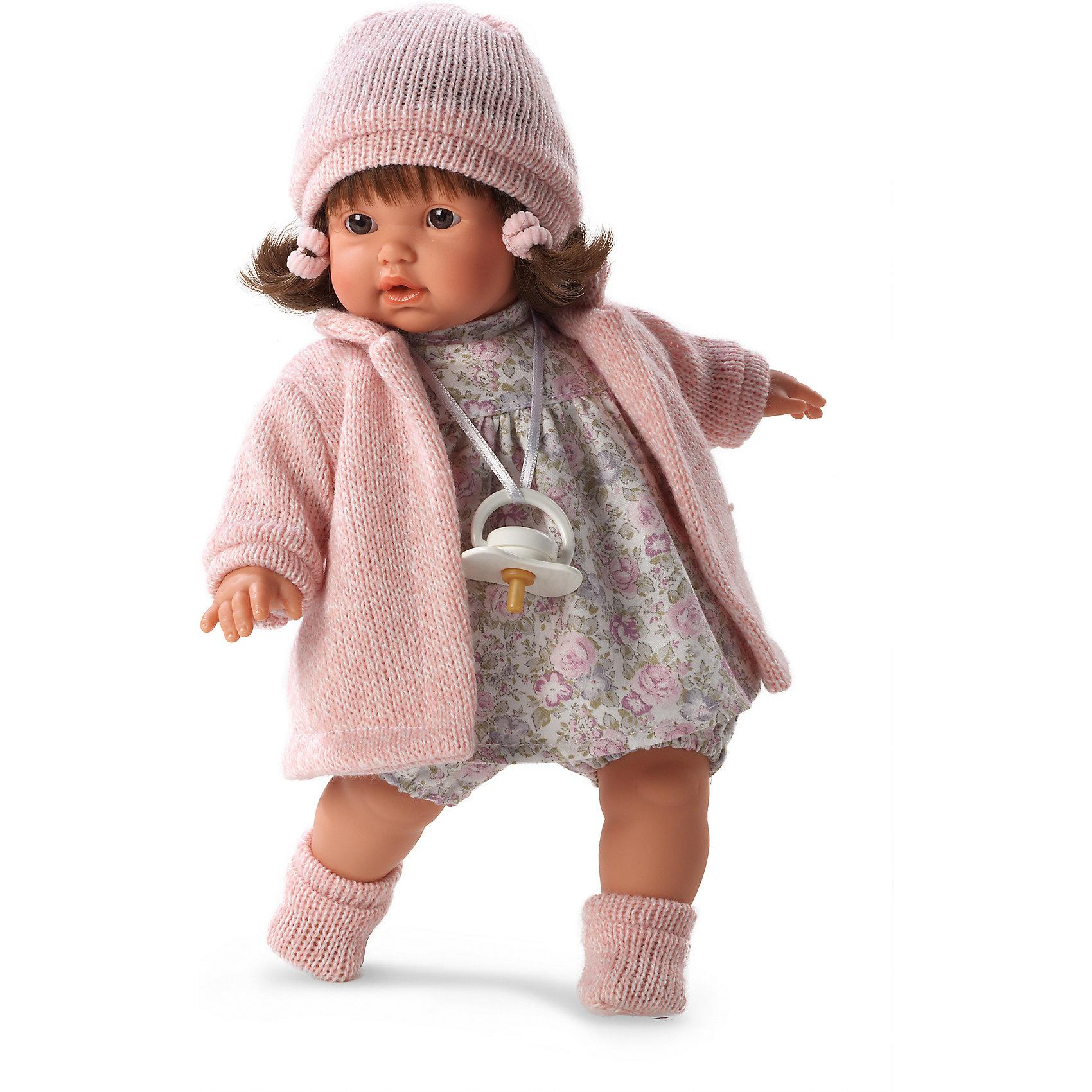 Кукла Айсель, 33 см, LlorensБренды кукол<br>Характеристики:<br><br>• Предназначение: для сюжетно-ролевых игр<br>• Тип куклы: мягконабивная<br>• Пол куклы: девочка <br>• Цвет волос: брюнетка<br>• Материал: поливинилхлорид, пластик, нейлон, текстиль<br>• Цвет: розовый, серый<br>• Высота куклы: 33 см<br>• Комплектация: кукла, платье, пальто, шапочка, носочки, пустышка на ленточке<br>• Вес: 660 г<br>• Размеры упаковки (Д*В*Ш): 20*37*10 см<br>• Упаковка: подарочная картонная коробка <br>• Особенности ухода: допускается деликатная стирка без использования красящих и отбеливающих средств предметов одежды куклы<br><br>Кукла Айсель 33 см без звука – кукла, производителем которого является всемирно известный испанский кукольный бренд Llorens. Куклы этой торговой марки имеют свою неповторимую внешность и целую линейку образов как пупсов, так и кукол-малышей. Игрушки выполнены из сочетания поливинилхлорида и пластика, что позволяет с высокой долей достоверности воссоздать физиологические и мимические особенности маленьких детей. При изготовлении кукол Llorens используются только сертифицированные материалы, безопасные и не вызывающие аллергических реакций. Волосы у кукол отличаются густотой, шелковистостью и блеском, при расчесывании они не выпадают и не ломаются.<br>Кукла Айсель 33 см без звука выполнена в образе малышки: брюнетка с карими глазами и слегка завитыми волосами средней длины. В комплект одежды Айсель входит платьице в розочку, трикотажное пальто, шапочка и пинетки. У малышки имеется соска на ленточке. <br>Кукла Айсель 33 см без звука – это идеальный вариант для подарка к различным праздникам и торжествам.<br><br>Куклу Айсель 33 см без звука можно купить в нашем интернет-магазине.<br><br>Ширина мм: 20<br>Глубина мм: 37<br>Высота мм: 10<br>Вес г: 660<br>Возраст от месяцев: 36<br>Возраст до месяцев: 84<br>Пол: Женский<br>Возраст: Детский<br>SKU: 5086899