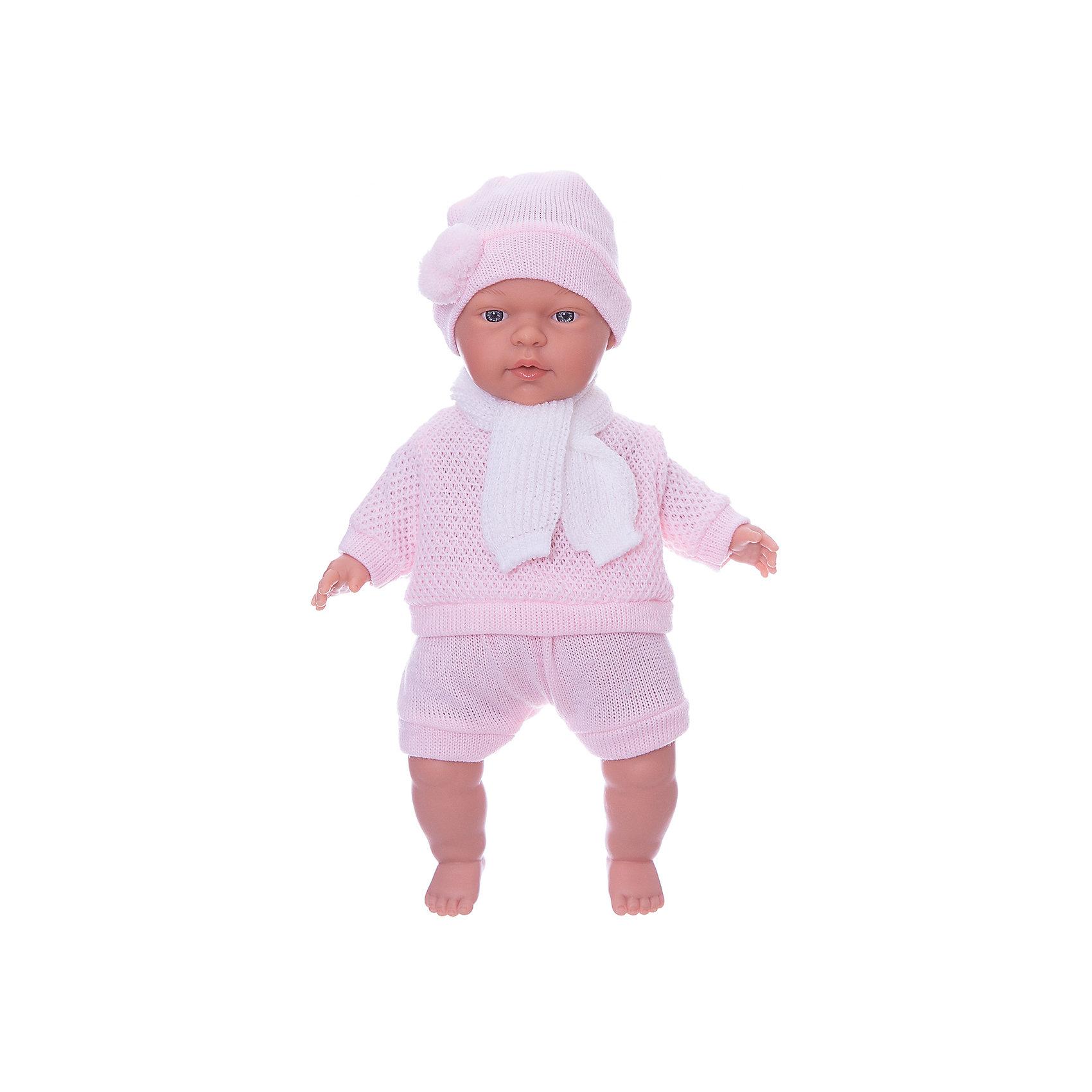 Кукла Люсия, 33 см, LlorensХарактеристики:<br><br>• Предназначение: для сюжетно-ролевых игр<br>• Тип куклы: мягконабивная<br>• Пол куклы: девочка <br>• Волосы: прорисованные<br>• Материал: поливинилхлорид, пластик, текстиль<br>• Цвет: розовый, белый<br>• Высота куклы: 33 см<br>• Комплектация: кукла, короткие шортики, свитер, шарфик, шапочка<br>• Вес: 660 г<br>• Размеры упаковки (Д*В*Ш): 20*37*10 см<br>• Упаковка: подарочная картонная коробка <br>• Особенности ухода: допускается деликатная стирка без использования красящих и отбеливающих средств предметов одежды куклы<br><br>Кукла Люсия 33 см без звука – кукла, производителем которого является всемирно известный испанский кукольный бренд Llorens. Куклы этой торговой марки имеют свою неповторимую внешность и целую линейку образов как пупсов, так и кукол-малышей. Игрушки выполнены из сочетания поливинилхлорида и пластика, что позволяет с высокой долей достоверности воссоздать физиологические и мимические особенности маленьких детей. При изготовлении кукол Llorens используются только сертифицированные материалы, безопасные и не вызывающие аллергических реакций. Волосы у кукол-пупсов прорисованные; ручки и ножки двигаются.<br>Кукла Люсия 33 см без звука выполнена в образе очаровательного малышки: голубые глазки и пухлые щечки создают невероятно очаровательный и милый образ. В комплект одежды Люсии входит костюмчик нежно-розового цвета, состоящий из вязаных шортиков, свитера, шапочки с помпоном и шарфика. <br>Кукла Люсия 33 см без звука – это идеальный вариант для подарка к различным праздникам и торжествам.<br><br>Куклу Люсию 33 см без звука можно купить в нашем интернет-магазине.<br><br>Ширина мм: 20<br>Глубина мм: 37<br>Высота мм: 10<br>Вес г: 660<br>Возраст от месяцев: 36<br>Возраст до месяцев: 84<br>Пол: Женский<br>Возраст: Детский<br>SKU: 5086901