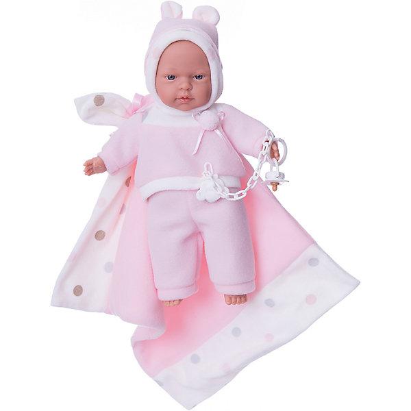 Кукла Люсия с одеялом, 33 см, LlorensБренды кукол<br>Характеристики:<br><br>• Предназначение: для сюжетно-ролевых игр<br>• Тип куклы: мягконабивная<br>• Пол куклы: девочка <br>• Волосы: прорисованные<br>• Материал: поливинилхлорид, пластик, текстиль<br>• Цвет: розовый, белый<br>• Высота куклы: 33 см<br>• Комплектация: кукла, штанишки, кофточка, шарфик, одеяло, соска с цепочкой-держателем<br>• Вес: 700 г<br>• Размеры упаковки (Д*В*Ш): 20*37*10 см<br>• Упаковка: подарочная картонная коробка <br>• Особенности ухода: допускается деликатная стирка без использования красящих и отбеливающих средств предметов одежды куклы<br><br>Кукла Люсия 33 см с одеялом – кукла, производителем которого является всемирно известный испанский кукольный бренд Llorens. Куклы этой торговой марки имеют свою неповторимую внешность и целую линейку образов как пупсов, так и кукол-малышей. Игрушки выполнены из сочетания поливинилхлорида и пластика, что позволяет с высокой долей достоверности воссоздать физиологические и мимические особенности маленьких детей. При изготовлении кукол Llorens используются только сертифицированные материалы, безопасные и не вызывающие аллергических реакций. Волосы у кукол-пупсов прорисованные; ручки и ножки двигаются.<br>Кукла Люсия 33 см без звука выполнена в образе очаровательного малышки: голубые глазки и пухлые щечки создают невероятно очаровательный и милый образ. В комплект одежды Люсии входит костюмчик из сочетания белых и розовых элементов, состоящий из кофточки с длинными рукавами, штанишек и шапочки на завязках. В компекте предусмотрено одеялко и соска на цепочке-держателе.<br>Кукла Люсия 33 см без звука – это идеальный вариант для подарка к различным праздникам и торжествам.<br><br>Куклу Люсию 33 см без звука можно купить в нашем интернет-магазине.<br><br>Ширина мм: 20<br>Глубина мм: 37<br>Высота мм: 10<br>Вес г: 700<br>Возраст от месяцев: 36<br>Возраст до месяцев: 84<br>Пол: Женский<br>Возраст: Детский<br>SKU: 5086902