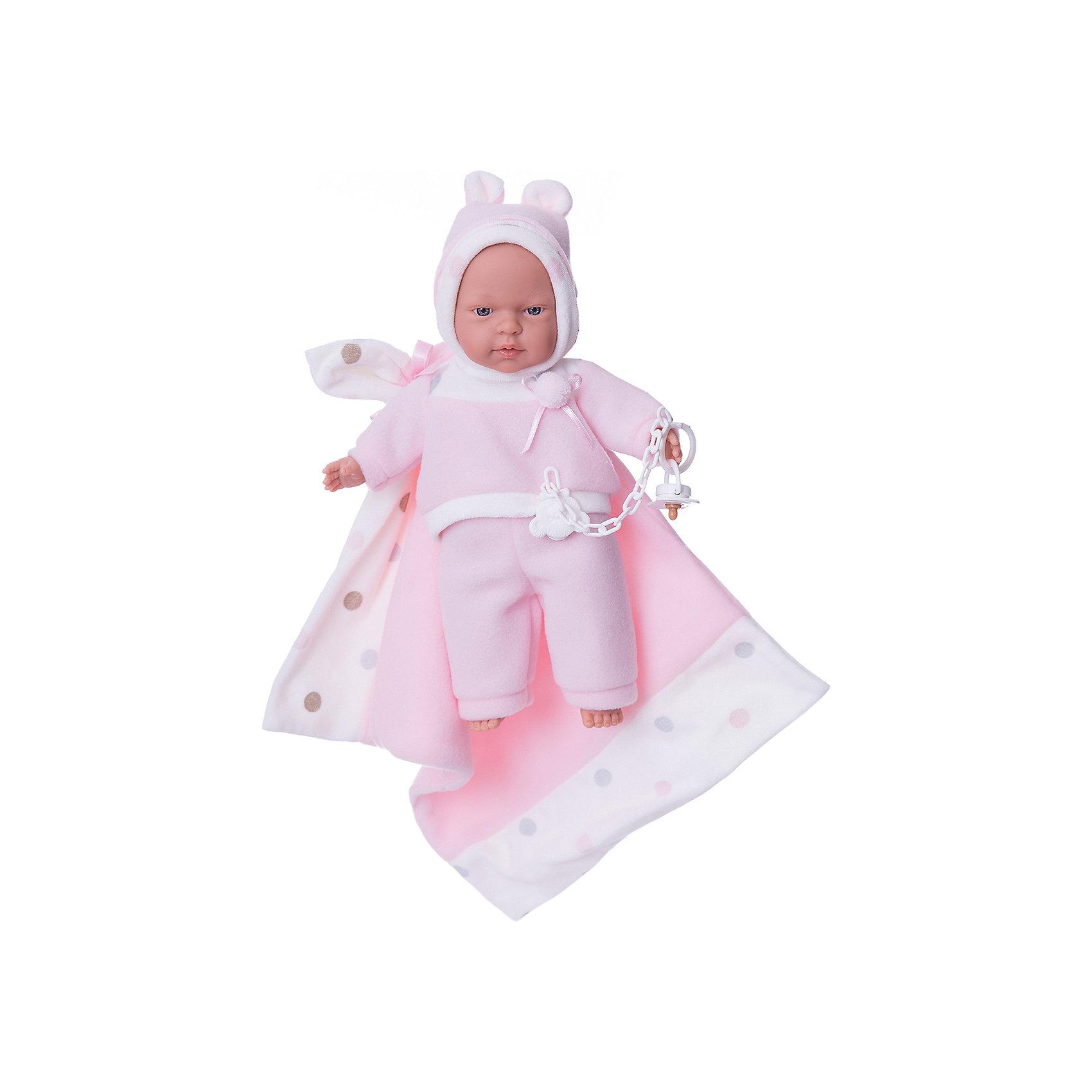 Кукла Люсия с одеялом, 33 см, LlorensКлассические куклы<br>Характеристики:<br><br>• Предназначение: для сюжетно-ролевых игр<br>• Тип куклы: мягконабивная<br>• Пол куклы: девочка <br>• Волосы: прорисованные<br>• Материал: поливинилхлорид, пластик, текстиль<br>• Цвет: розовый, белый<br>• Высота куклы: 33 см<br>• Комплектация: кукла, штанишки, кофточка, шарфик, одеяло, соска с цепочкой-держателем<br>• Вес: 700 г<br>• Размеры упаковки (Д*В*Ш): 20*37*10 см<br>• Упаковка: подарочная картонная коробка <br>• Особенности ухода: допускается деликатная стирка без использования красящих и отбеливающих средств предметов одежды куклы<br><br>Кукла Люсия 33 см с одеялом – кукла, производителем которого является всемирно известный испанский кукольный бренд Llorens. Куклы этой торговой марки имеют свою неповторимую внешность и целую линейку образов как пупсов, так и кукол-малышей. Игрушки выполнены из сочетания поливинилхлорида и пластика, что позволяет с высокой долей достоверности воссоздать физиологические и мимические особенности маленьких детей. При изготовлении кукол Llorens используются только сертифицированные материалы, безопасные и не вызывающие аллергических реакций. Волосы у кукол-пупсов прорисованные; ручки и ножки двигаются.<br>Кукла Люсия 33 см без звука выполнена в образе очаровательного малышки: голубые глазки и пухлые щечки создают невероятно очаровательный и милый образ. В комплект одежды Люсии входит костюмчик из сочетания белых и розовых элементов, состоящий из кофточки с длинными рукавами, штанишек и шапочки на завязках. В компекте предусмотрено одеялко и соска на цепочке-держателе.<br>Кукла Люсия 33 см без звука – это идеальный вариант для подарка к различным праздникам и торжествам.<br><br>Куклу Люсию 33 см без звука можно купить в нашем интернет-магазине.<br><br>Ширина мм: 20<br>Глубина мм: 37<br>Высота мм: 10<br>Вес г: 700<br>Возраст от месяцев: 36<br>Возраст до месяцев: 84<br>Пол: Женский<br>Возраст: Детский<br>SKU: 5086902