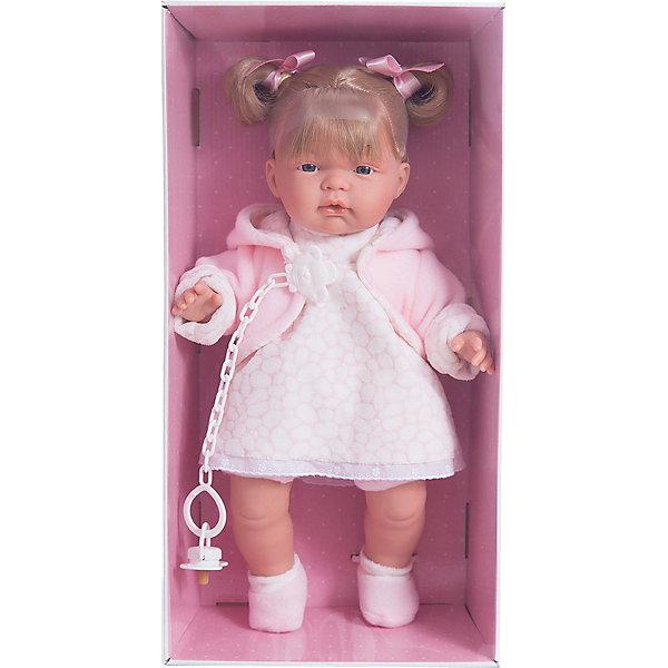 Кукла Люсия, 38 см, LlorensКуклы<br>Характеристики:<br><br>• Предназначение: для сюжетно-ролевых игр<br>• Тип куклы: мягконабивная<br>• Пол куклы: девочка <br>• Цвет волос: русый<br>• Материал: поливинилхлорид, пластик, нейлон, текстиль<br>• Цвет: розовый, белый<br>• Высота куклы: 38 см<br>• Комплектация: кукла, платье, флисовая курточка с капюшоном, носочки, пустышка на цепочке<br>• Вес: 1 кг 050 г<br>• Размеры упаковки (Д*В*Ш): 23*45*12 см<br>• Упаковка: подарочная картонная коробка <br>• Особенности ухода: допускается деликатная стирка без использования красящих и отбеливающих средств предметов одежды куклы<br><br>Кукла Люсия 38 см без звука – кукла, производителем которого является всемирно известный испанский кукольный бренд Llorens. Куклы этой торговой марки имеют свою неповторимую внешность и целую линейку образов как пупсов, так и кукол-малышей. Игрушки выполнены из сочетания поливинилхлорида и пластика, что позволяет с высокой долей достоверности воссоздать физиологические и мимические особенности маленьких детей. При изготовлении кукол Llorens используются только сертифицированные материалы, безопасные и не вызывающие аллергических реакций. Волосы у кукол отличаются густотой, шелковистостью и блеском, при расчесывании они не выпадают и не ломаются.<br>Кукла Люсия 38 см без звука выполнена в образе малышки: у куклы светло-русые волосы, собранные в два озорных хвостика, завязанные ленточками и темные глаза. В комплект одежды Люсии входит теплое платьице, флисовая курточка и пинетки. У малышки имеется соска на цепочке-держателе. <br>Кукла Люсия 38 см без звука – это идеальный вариант для подарка к различным праздникам и торжествам.<br><br>Куклу Люсию 38 см без звука можно купить в нашем интернет-магазине.<br>Ширина мм: 23; Глубина мм: 45; Высота мм: 12; Вес г: 1050; Возраст от месяцев: 36; Возраст до месяцев: 84; Пол: Женский; Возраст: Детский; SKU: 5086903;