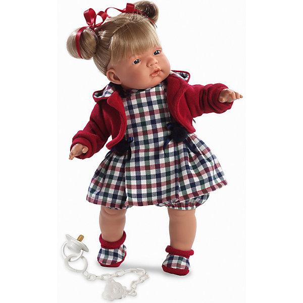 Кукла Катя, 38 см, LlorensКуклы<br>Характеристики:<br><br>• Предназначение: для сюжетно-ролевых игр<br>• Тип куклы: мягконабивная<br>• Пол куклы: девочка <br>• Цвет волос: русый<br>• Материал: поливинилхлорид, пластик, нейлон, текстиль<br>• Цвет: красный, синий, зеленый, белый<br>• Высота куклы: 38 см<br>• Комплектация: кукла, платье, флисовая курточка с капюшоном, пинетки, пустышка на цепочке<br>• Вес: 1 кг 050 г<br>• Размеры упаковки (Д*В*Ш): 23*45*12 см<br>• Упаковка: подарочная картонная коробка <br>• Особенности ухода: допускается деликатная стирка без использования красящих и отбеливающих средств предметов одежды куклы<br><br>Кукла Катя 38 см без звука – кукла, производителем которого является всемирно известный испанский кукольный бренд Llorens. Куклы этой торговой марки имеют свою неповторимую внешность и целую линейку образов как пупсов, так и кукол-малышей. Игрушки выполнены из сочетания поливинилхлорида и пластика, что позволяет с высокой долей достоверности воссоздать физиологические и мимические особенности маленьких детей. При изготовлении кукол Llorens используются только сертифицированные материалы, безопасные и не вызывающие аллергических реакций. Волосы у кукол отличаются густотой, шелковистостью и блеском, при расчесывании они не выпадают и не ломаются.<br>Кукла Катя 38 см без звука выполнена в образе малышки: у куклы светло-русые волосы, собранные в два озорных хвостика, завязанные ленточками и темные глаза. В комплект одежды Кати входит платьице в клетку, флисовая курточка красного цвета и пинетки. У малышки имеется соска на цепочке-держателе. <br>Кукла Катя 38 см без звука – это идеальный вариант для подарка к различным праздникам и торжествам.<br><br>Куклу Катю 38 см без звука можно купить в нашем интернет-магазине.<br><br>Ширина мм: 23<br>Глубина мм: 45<br>Высота мм: 12<br>Вес г: 1050<br>Возраст от месяцев: 36<br>Возраст до месяцев: 84<br>Пол: Женский<br>Возраст: Детский<br>SKU: 5086904