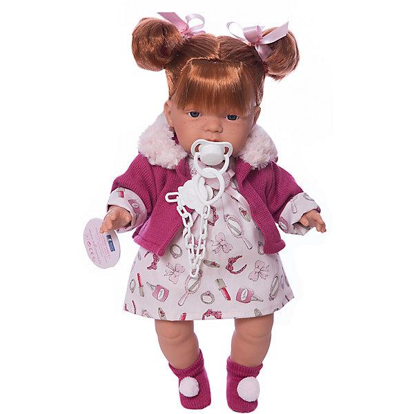 Кукла Жоэль, 38 см, LlorensКуклы<br>Характеристики:<br><br>• Предназначение: для сюжетно-ролевых игр<br>• Тип куклы: мягконабивная<br>• Пол куклы: девочка <br>• Цвет волос: шатенка<br>• Материал: поливинилхлорид, пластик, нейлон, текстиль<br>• Высота куклы: 38 см<br>• Комплектация: кукла, платье, курточка, носочки, пустышка, держатель для пустышки<br>• Звуковые эффекты: плачет, произносит мама и папа<br>• Батарейки: з шт. типа AG13/LR44 (предусмотрены в комплекте)<br>• Вес: 1 кг 050 г<br>• Размеры упаковки (Д*В*Ш): 23*45*12 см<br>• Упаковка: подарочная картонная коробка <br>• Особенности ухода: допускается деликатная стирка без использования красящих и отбеливающих средств предметов одежды куклы<br><br>Кукла Жоэль 38 см – кукла, производителем которого является всемирно известный испанский кукольный бренд Llorens. Куклы этой торговой марки имеют свою неповторимую внешность и целую линейку образов как пупсов, так и кукол-малышей. Игрушки выполнены из сочетания поливинилхлорида и пластика, что позволяет с высокой долей достоверности воссоздать физиологические и мимические особенности маленьких детей. При изготовлении кукол Llorens используются только сертифицированные материалы, безопасные и не вызывающие аллергических реакций. Волосы у кукол отличаются густотой, шелковистостью и блеском, при расчесывании они не выпадают и не ломаются.<br>Кукла Жоэль 38 см выполнена в образе малышки: голубые глаза, веснушки и озорные хвостики делают образ куклы милым и озорным. В комплект одежды Жоэль входит легкое платьице, курточка с отложным воротником из меха и носочки с помпонами. Жоэль умеет плакать, а также говорить мама и папа. Чтобы малышка не плакала, у нее имеется соска с держателем. <br>Кукла Жоэль 38 см – это идеальный вариант для подарка к различным праздникам и торжествам.<br><br>Куклу Жоэль 33 см можно купить в нашем интернет-магазине.<br><br>Ширина мм: 23<br>Глубина мм: 45<br>Высота мм: 12<br>Вес г: 1050<br>Возраст от месяцев: 36<br>Возраст до месяцев: 84<br>Пол: Женс