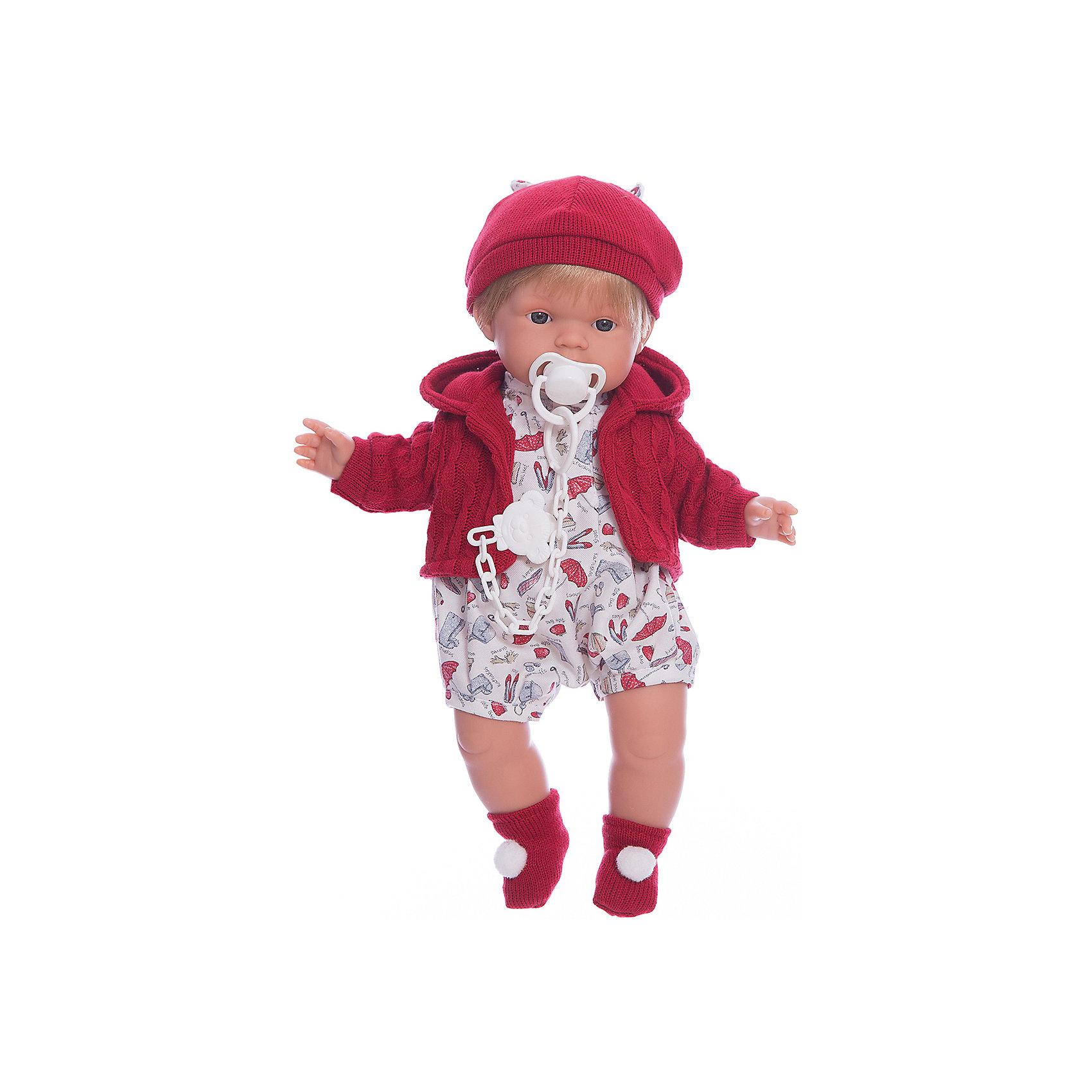 Кукла Саша, 38 см, LlorensХарактеристики:<br><br>• Предназначение: для сюжетно-ролевых игр<br>• Тип куклы: мягконабивная<br>• Пол куклы: мальчик <br>• Цвет волос: блондин<br>• Материал: поливинилхлорид, пластик, нейлон, текстиль<br>• Цвет: красный, белый, голубой<br>• Высота куклы: 38 см<br>• Комплектация: кукла, комбинезон, вязаная кофточка с капюшоном, шапочка, пинетки, пустышка на цепочке<br>• Вес: 1 кг 050 г<br>• Размеры упаковки (Д*В*Ш): 23*45*12 см<br>• Упаковка: подарочная картонная коробка <br>• Особенности ухода: допускается деликатная стирка без использования красящих и отбеливающих средств предметов одежды куклы<br><br>Кукла Саша 38 см без звука – кукла, производителем которого является всемирно известный испанский кукольный бренд Llorens. Куклы этой торговой марки имеют свою неповторимую внешность и целую линейку образов как пупсов, так и кукол-малышей. Игрушки выполнены из сочетания поливинилхлорида и пластика, что позволяет с высокой долей достоверности воссоздать физиологические и мимические особенности маленьких детей. При изготовлении кукол Llorens используются только сертифицированные материалы, безопасные и не вызывающие аллергических реакций. Волосы у кукол отличаются густотой, шелковистостью и блеском, при расчесывании они не выпадают и не ломаются.<br>Кукла Саша 38 см без звука выполнена в образе малыша: блондин с карими глазами и курносым носиком. В комплект одежды Саши входит комбинезон, вязаная кофточка с капюшоном, шапочка с ушками и носочки с помпонами. У малыша имеется соска на цепочке-держателе. <br>Кукла Саша 38 см без звука – это идеальный вариант для подарка к различным праздникам и торжествам.<br><br>Куклу Сашу 38 см без звука можно купить в нашем интернет-магазине.<br><br>Ширина мм: 23<br>Глубина мм: 45<br>Высота мм: 12<br>Вес г: 1050<br>Возраст от месяцев: 36<br>Возраст до месяцев: 84<br>Пол: Женский<br>Возраст: Детский<br>SKU: 5086906