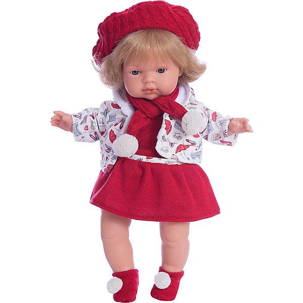 Кукла Клавдия, 38 см, LlorensКуклы<br>Характеристики:<br><br>• Предназначение: для сюжетно-ролевых игр<br>• Тип куклы: мягконабивная<br>• Пол куклы: девочка <br>• Цвет волос: светло-русый<br>• Материал: поливинилхлорид, пластик, нейлон, текстиль<br>• Цвет: красный, белый<br>• Высота куклы: 38 см<br>• Комплектация: кукла, платье, кофточка, носочки, берет, шарф, пустышка с держателем<br>• Звуковые эффекты: плачет, произносит мама и папа<br>• Батарейки: з шт. типа AG13/LR44 (предусмотрены в комплекте)<br>• Вес: 1 кг 050 г<br>• Размеры упаковки (Д*В*Ш): 23*45*12 см<br>• Упаковка: подарочная картонная коробка <br>• Особенности ухода: допускается деликатная стирка без использования красящих и отбеливающих средств предметов одежды куклы<br><br>Кукла Клавдия 38 см – кукла, производителем которого является всемирно известный испанский кукольный бренд Llorens. Куклы этой торговой марки имеют свою неповторимую внешность и целую линейку образов как пупсов, так и кукол-малышей. Игрушки выполнены из сочетания поливинилхлорида и пластика, что позволяет с высокой долей достоверности воссоздать физиологические и мимические особенности маленьких детей. При изготовлении кукол Llorens используются только сертифицированные материалы, безопасные и не вызывающие аллергических реакций. Волосы у кукол отличаются густотой, шелковистостью и блеском, при расчесывании они не выпадают и не ломаются.<br>Кукла Клавдия 38 см выполнена в образе малышки: голубые глаза и волосы средней длины делают образ куклы необычайно очаровательным. В комплект одежды Клавдии входит теплое яркое платьице, теплая кофточка с капюшоном, носочки с помпончиками. Стильный образ Клавдии дополняет объемный вязаный берет и шарф. Кукла умеет плакать, а также говорить мама и папа. Чтобы малышка не плакала, у нее имеется соска с цепочкой-держателем. <br>Кукла Клавдия 38 см – это идеальный вариант для подарка к различным праздникам и торжествам.<br><br>Куклу Клавдию 38 см можно купить в нашем интернет-магазине.<br><br>Ширина мм
