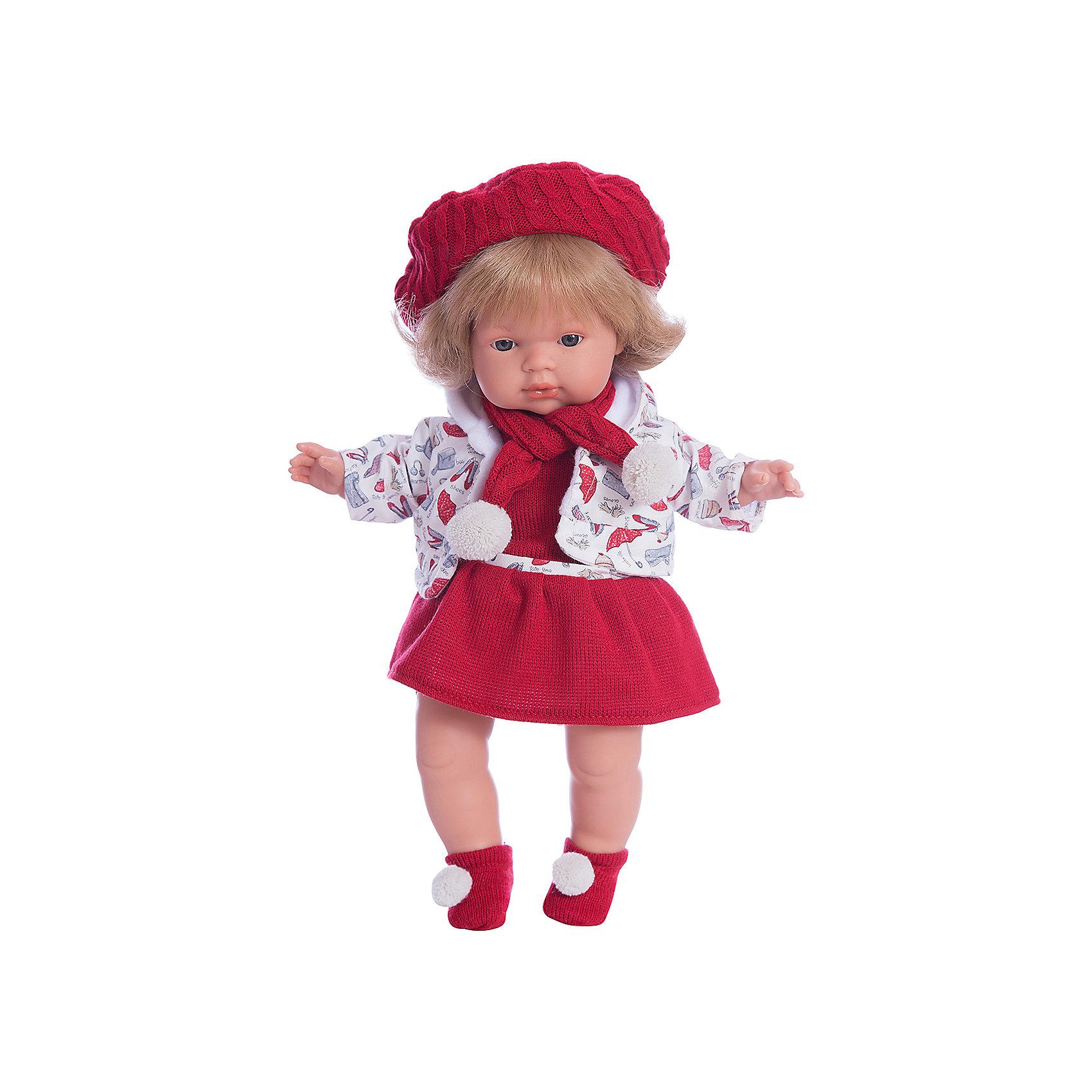 Кукла Клавдия, 38 см, LlorensКлассические куклы<br>Характеристики:<br><br>• Предназначение: для сюжетно-ролевых игр<br>• Тип куклы: мягконабивная<br>• Пол куклы: девочка <br>• Цвет волос: светло-русый<br>• Материал: поливинилхлорид, пластик, нейлон, текстиль<br>• Цвет: красный, белый<br>• Высота куклы: 38 см<br>• Комплектация: кукла, платье, кофточка, носочки, берет, шарф, пустышка с держателем<br>• Звуковые эффекты: плачет, произносит мама и папа<br>• Батарейки: з шт. типа AG13/LR44 (предусмотрены в комплекте)<br>• Вес: 1 кг 050 г<br>• Размеры упаковки (Д*В*Ш): 23*45*12 см<br>• Упаковка: подарочная картонная коробка <br>• Особенности ухода: допускается деликатная стирка без использования красящих и отбеливающих средств предметов одежды куклы<br><br>Кукла Клавдия 38 см – кукла, производителем которого является всемирно известный испанский кукольный бренд Llorens. Куклы этой торговой марки имеют свою неповторимую внешность и целую линейку образов как пупсов, так и кукол-малышей. Игрушки выполнены из сочетания поливинилхлорида и пластика, что позволяет с высокой долей достоверности воссоздать физиологические и мимические особенности маленьких детей. При изготовлении кукол Llorens используются только сертифицированные материалы, безопасные и не вызывающие аллергических реакций. Волосы у кукол отличаются густотой, шелковистостью и блеском, при расчесывании они не выпадают и не ломаются.<br>Кукла Клавдия 38 см выполнена в образе малышки: голубые глаза и волосы средней длины делают образ куклы необычайно очаровательным. В комплект одежды Клавдии входит теплое яркое платьице, теплая кофточка с капюшоном, носочки с помпончиками. Стильный образ Клавдии дополняет объемный вязаный берет и шарф. Кукла умеет плакать, а также говорить мама и папа. Чтобы малышка не плакала, у нее имеется соска с цепочкой-держателем. <br>Кукла Клавдия 38 см – это идеальный вариант для подарка к различным праздникам и торжествам.<br><br>Куклу Клавдию 38 см можно купить в нашем интернет-магазине.<br>