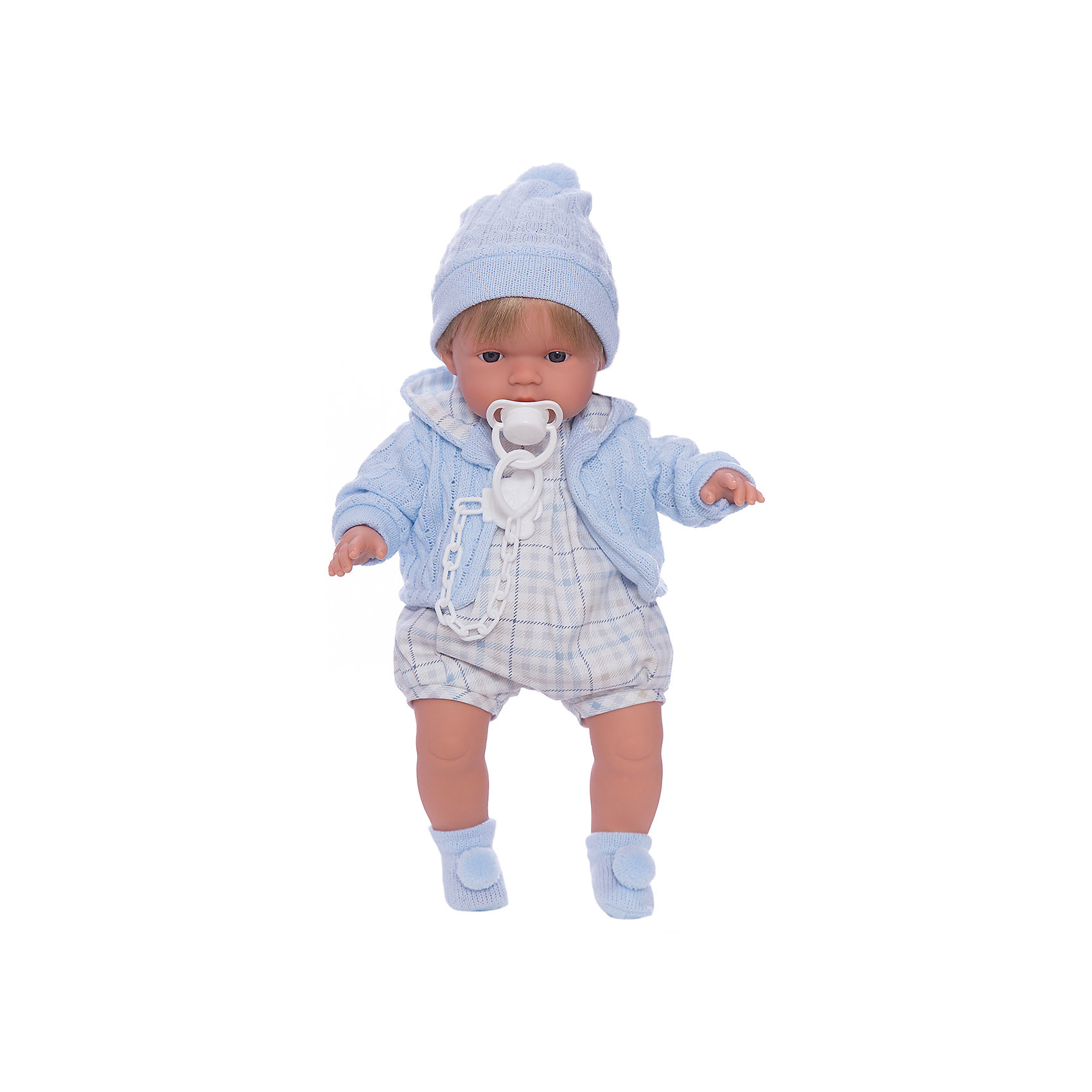 Кукла Пабло, 38 см, LlorensХарактеристики:<br><br>• Предназначение: для сюжетно-ролевых игр<br>• Тип куклы: мягконабивная<br>• Пол куклы: мальчик <br>• Цвет волос: блондин<br>• Материал: поливинилхлорид, пластик, нейлон, текстиль<br>• Цвет: голубой, белый<br>• Высота куклы: 38 см<br>• Комплектация: кукла, комбинезон, кофточка, носочки, шапочка, пустышка с держателем<br>• Звуковые эффекты: плачет, произносит мама и папа<br>• Батарейки: з шт. типа AG13/LR44 (предусмотрены в комплекте)<br>• Вес: 1 кг 050 г<br>• Размеры упаковки (Д*В*Ш): 23*45*12 см<br>• Упаковка: подарочная картонная коробка <br>• Особенности ухода: допускается деликатная стирка без использования красящих и отбеливающих средств предметов одежды куклы<br><br>Кукла Пабло 38 см – кукла, производителем которого является всемирно известный испанский кукольный бренд Llorens. Куклы этой торговой марки имеют свою неповторимую внешность и целую линейку образов как пупсов, так и кукол-малышей. Игрушки выполнены из сочетания поливинилхлорида и пластика, что позволяет с высокой долей достоверности воссоздать физиологические и мимические особенности маленьких детей. При изготовлении кукол Llorens используются только сертифицированные материалы, безопасные и не вызывающие аллергических реакций. Волосы у кукол отличаются густотой, шелковистостью и блеском, при расчесывании они не выпадают и не ломаются.<br>Кукла Пабло 38 см выполнена в образе малыша: голубые глаза и светлые волосы делают образ куклы необычайно очаровательным. В комплект одежды Пабло входит легкий комбинезон, теплая вязаная кофточка с капюшоном, шапочка с помпоном и носочки с помпончиками. Пабло умеет плакать, а также говорить мама и папа. Чтобы малыш не плакал, у него имеется соскас держателем. <br>Кукла Пабло 38 см – это идеальный вариант для подарка к различным праздникам и торжествам.<br><br>Куклу Пабло 38 см можно купить в нашем интернет-магазине.<br><br>Ширина мм: 23<br>Глубина мм: 45<br>Высота мм: 12<br>Вес г: 1050<br>Возраст от месяцев: 36<br>