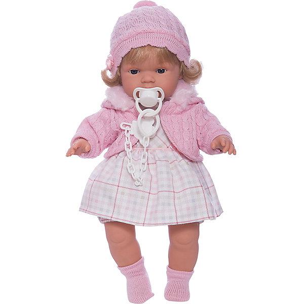 Кукла Лидия, 38 см, LlorensКуклы<br>Характеристики:<br><br>• Предназначение: для сюжетно-ролевых игр<br>• Тип куклы: мягконабивная<br>• Пол куклы: девочка <br>• Цвет волос: блондинка<br>• Материал: поливинилхлорид, пластик, нейлон, текстиль<br>• Цвет: розовый, белый<br>• Высота куклы: 38 см<br>• Комплектация: кукла, платье, флисовая курточка с капюшоном, пинетки, пустышка на цепочке<br>• Вес: 1 кг 050 г<br>• Размеры упаковки (Д*В*Ш): 23*45*12 см<br>• Упаковка: подарочная картонная коробка <br>• Особенности ухода: допускается деликатная стирка без использования красящих и отбеливающих средств предметов одежды куклы<br><br>Кукла Лидия 38 см без звука – кукла, производителем которого является всемирно известный испанский кукольный бренд Llorens. Куклы этой торговой марки имеют свою неповторимую внешность и целую линейку образов как пупсов, так и кукол-малышей. Игрушки выполнены из сочетания поливинилхлорида и пластика, что позволяет с высокой долей достоверности воссоздать физиологические и мимические особенности маленьких детей. При изготовлении кукол Llorens используются только сертифицированные материалы, безопасные и не вызывающие аллергических реакций. Волосы у кукол отличаются густотой, шелковистостью и блеском, при расчесывании они не выпадают и не ломаются.<br>Кукла Лидия 38 см без звука выполнена в образе малышки: у куклы светлые волосы до плеч, которые можно укладывать в различные прически. В комплект одежды Лидии входит платьице в клетку, вязаная кофточка нежного розового цвета, шапочка с помпоном и носочки. У малышки имеется соска на цепочке-держателе. <br>Кукла Лидия 38 см без звука – это идеальный вариант для подарка к различным праздникам и торжествам.<br><br>Куклу Лидию 38 см без звука можно купить в нашем интернет-магазине.<br>Ширина мм: 23; Глубина мм: 45; Высота мм: 12; Вес г: 1050; Возраст от месяцев: 36; Возраст до месяцев: 84; Пол: Женский; Возраст: Детский; SKU: 5086909;