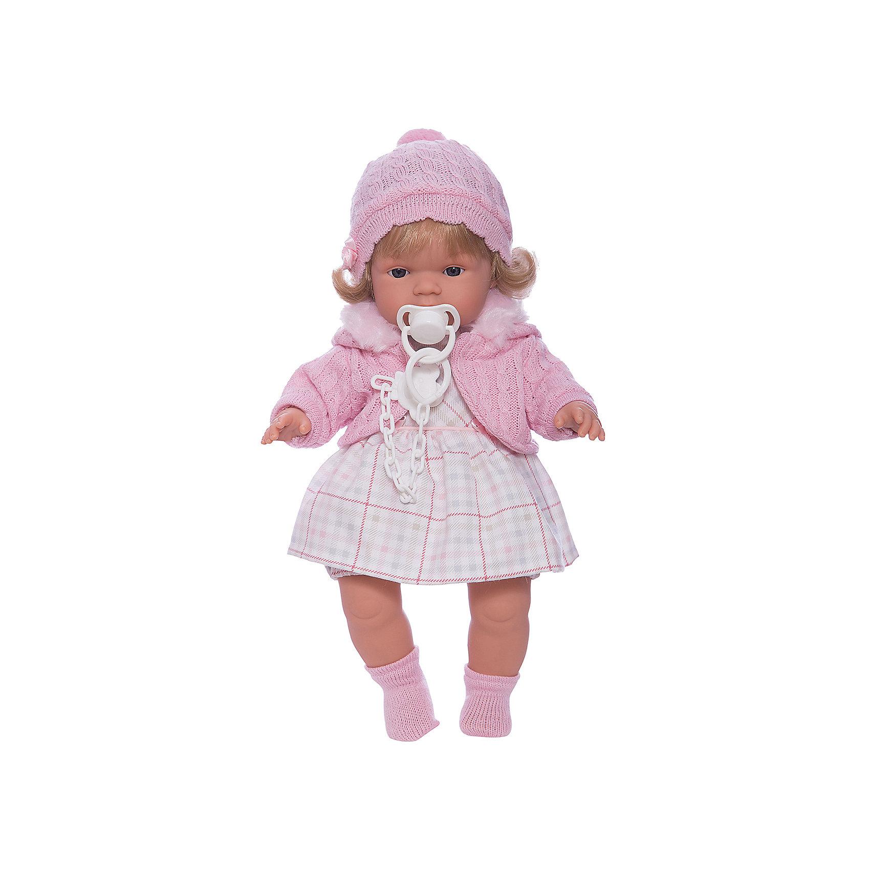 Кукла Лидия, 38 см, LlorensХарактеристики:<br><br>• Предназначение: для сюжетно-ролевых игр<br>• Тип куклы: мягконабивная<br>• Пол куклы: девочка <br>• Цвет волос: блондинка<br>• Материал: поливинилхлорид, пластик, нейлон, текстиль<br>• Цвет: розовый, белый<br>• Высота куклы: 38 см<br>• Комплектация: кукла, платье, флисовая курточка с капюшоном, пинетки, пустышка на цепочке<br>• Вес: 1 кг 050 г<br>• Размеры упаковки (Д*В*Ш): 23*45*12 см<br>• Упаковка: подарочная картонная коробка <br>• Особенности ухода: допускается деликатная стирка без использования красящих и отбеливающих средств предметов одежды куклы<br><br>Кукла Лидия 38 см без звука – кукла, производителем которого является всемирно известный испанский кукольный бренд Llorens. Куклы этой торговой марки имеют свою неповторимую внешность и целую линейку образов как пупсов, так и кукол-малышей. Игрушки выполнены из сочетания поливинилхлорида и пластика, что позволяет с высокой долей достоверности воссоздать физиологические и мимические особенности маленьких детей. При изготовлении кукол Llorens используются только сертифицированные материалы, безопасные и не вызывающие аллергических реакций. Волосы у кукол отличаются густотой, шелковистостью и блеском, при расчесывании они не выпадают и не ломаются.<br>Кукла Лидия 38 см без звука выполнена в образе малышки: у куклы светлые волосы до плеч, которые можно укладывать в различные прически. В комплект одежды Лидии входит платьице в клетку, вязаная кофточка нежного розового цвета, шапочка с помпоном и носочки. У малышки имеется соска на цепочке-держателе. <br>Кукла Лидия 38 см без звука – это идеальный вариант для подарка к различным праздникам и торжествам.<br><br>Куклу Лидию 38 см без звука можно купить в нашем интернет-магазине.<br><br>Ширина мм: 23<br>Глубина мм: 45<br>Высота мм: 12<br>Вес г: 1050<br>Возраст от месяцев: 36<br>Возраст до месяцев: 84<br>Пол: Женский<br>Возраст: Детский<br>SKU: 5086909