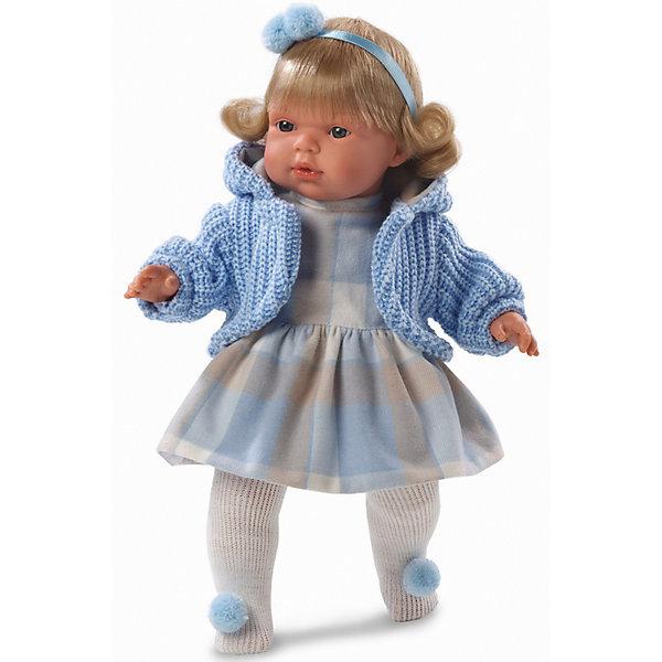 Кукла Шарлота, 38 см, LlorensКуклы<br>Характеристики:<br><br>• Предназначение: для сюжетно-ролевых игр<br>• Тип куклы: мягконабивная<br>• Пол куклы: девочка <br>• Цвет волос: светло-русый<br>• Материал: поливинилхлорид, пластик, нейлон, текстиль<br>• Цвет: голубой, серый, белый, бежевый<br>• Высота куклы: 38 см<br>• Комплектация: кукла, платье, кофточка, колготочки, пустышка с держателем<br>• Звуковые эффекты: плачет, произносит мама и папа<br>• Батарейки: з шт. типа AG13/LR44 (предусмотрены в комплекте)<br>• Вес: 1 кг 050 г<br>• Размеры упаковки (Д*В*Ш): 23*45*12 см<br>• Упаковка: подарочная картонная коробка <br>• Особенности ухода: допускается деликатная стирка без использования красящих и отбеливающих средств предметов одежды куклы<br><br>Кукла Шарлота 38 см – кукла, производителем которого является всемирно известный испанский кукольный бренд Llorens. Куклы этой торговой марки имеют свою неповторимую внешность и целую линейку образов как пупсов, так и кукол-малышей. Игрушки выполнены из сочетания поливинилхлорида и пластика, что позволяет с высокой долей достоверности воссоздать физиологические и мимические особенности маленьких детей. При изготовлении кукол Llorens используются только сертифицированные материалы, безопасные и не вызывающие аллергических реакций. Волосы у кукол отличаются густотой, шелковистостью и блеском, при расчесывании они не выпадают и не ломаются.<br>Кукла Шарлота 38 см выполнена в образе малышки: голубые глаза и слегка завитые волосы средней длины, поддерживаемые атласной лентой с помпоном, делают образ куклы необычайно очаровательным. В комплект одежды Клавдии входит теплое клетчатое платьице, вязаная голубая кофточка с капюшоном, колготочки с помпончиками.Кукла умеет плакать, а также говорить мама и папа. Чтобы малышка не плакала, у нее имеется соска с цепочкой-держателем. <br>Кукла Шарлота 38 см – это идеальный вариант для подарка к различным праздникам и торжествам.<br><br>Куклу Шарлоту 38 см можно купить в нашем интернет-магазине.<
