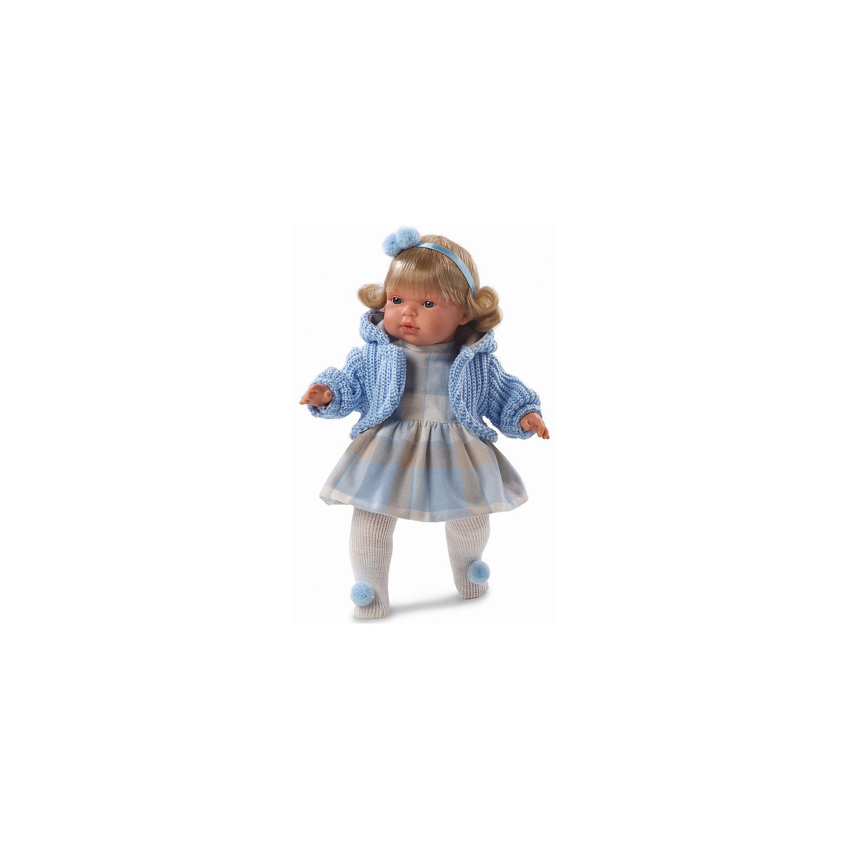 Кукла Шарлота, 38 см, LlorensХарактеристики:<br><br>• Предназначение: для сюжетно-ролевых игр<br>• Тип куклы: мягконабивная<br>• Пол куклы: девочка <br>• Цвет волос: светло-русый<br>• Материал: поливинилхлорид, пластик, нейлон, текстиль<br>• Цвет: голубой, серый, белый, бежевый<br>• Высота куклы: 38 см<br>• Комплектация: кукла, платье, кофточка, колготочки, пустышка с держателем<br>• Звуковые эффекты: плачет, произносит мама и папа<br>• Батарейки: з шт. типа AG13/LR44 (предусмотрены в комплекте)<br>• Вес: 1 кг 050 г<br>• Размеры упаковки (Д*В*Ш): 23*45*12 см<br>• Упаковка: подарочная картонная коробка <br>• Особенности ухода: допускается деликатная стирка без использования красящих и отбеливающих средств предметов одежды куклы<br><br>Кукла Шарлота 38 см – кукла, производителем которого является всемирно известный испанский кукольный бренд Llorens. Куклы этой торговой марки имеют свою неповторимую внешность и целую линейку образов как пупсов, так и кукол-малышей. Игрушки выполнены из сочетания поливинилхлорида и пластика, что позволяет с высокой долей достоверности воссоздать физиологические и мимические особенности маленьких детей. При изготовлении кукол Llorens используются только сертифицированные материалы, безопасные и не вызывающие аллергических реакций. Волосы у кукол отличаются густотой, шелковистостью и блеском, при расчесывании они не выпадают и не ломаются.<br>Кукла Шарлота 38 см выполнена в образе малышки: голубые глаза и слегка завитые волосы средней длины, поддерживаемые атласной лентой с помпоном, делают образ куклы необычайно очаровательным. В комплект одежды Клавдии входит теплое клетчатое платьице, вязаная голубая кофточка с капюшоном, колготочки с помпончиками.Кукла умеет плакать, а также говорить мама и папа. Чтобы малышка не плакала, у нее имеется соска с цепочкой-держателем. <br>Кукла Шарлота 38 см – это идеальный вариант для подарка к различным праздникам и торжествам.<br><br>Куклу Шарлоту 38 см можно купить в нашем интернет-магазине.<br><br>Ши