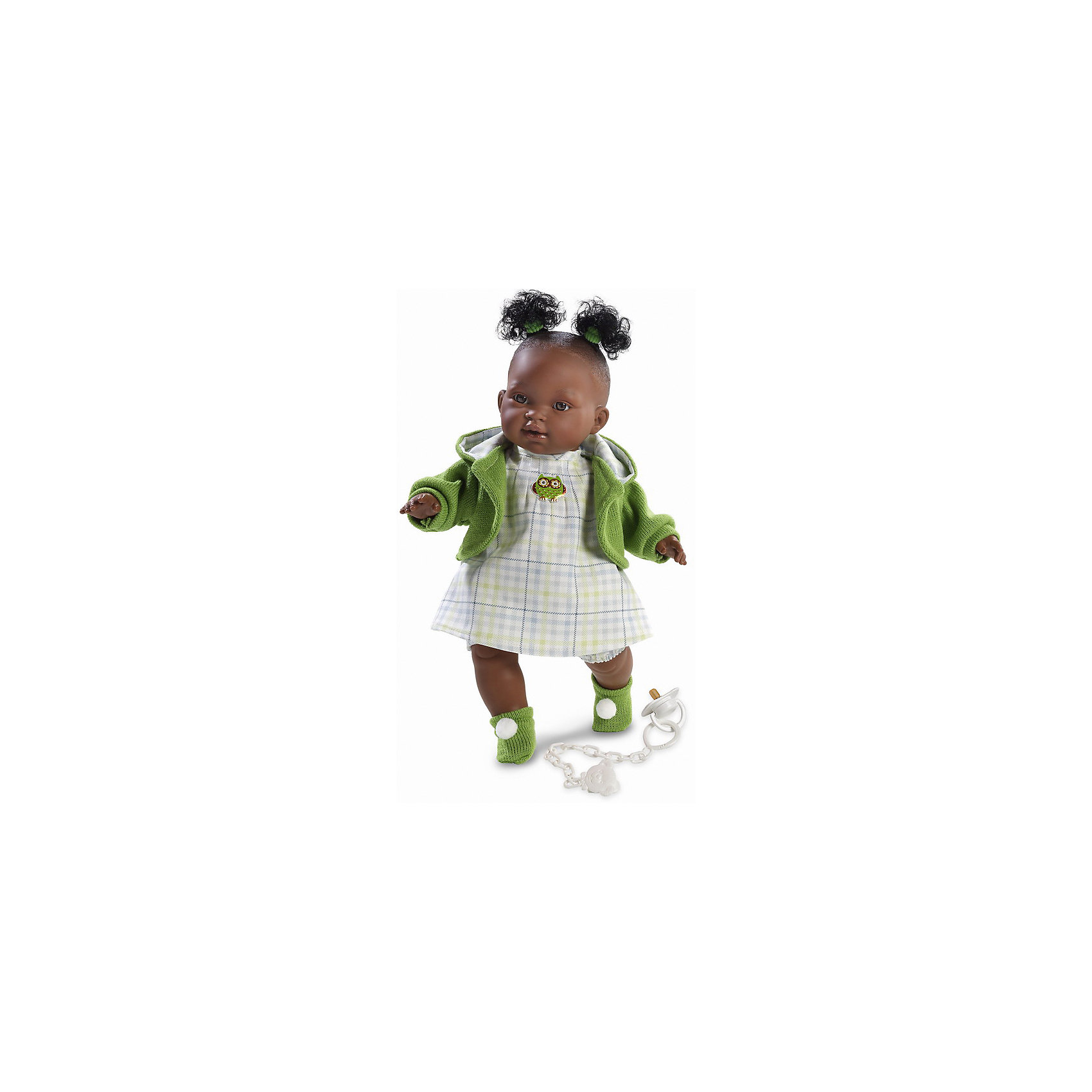 Кукла Эдис, 38 см, LlorensКлассические куклы<br>Характеристики:<br><br>• Предназначение: для сюжетно-ролевых игр<br>• Тип куклы: мягконабивная<br>• Пол куклы: девочка <br>• Цвет волос: черный<br>• Материал: поливинилхлорид, пластик, нейлон, текстиль<br>• Цвет: белый, зеленый<br>• Высота куклы: 38 см<br>• Комплектация: кукла, платье, флисовая курточка с капюшоном, пинетки, пустышка на цепочке<br>• Вес: 1 кг 050 г<br>• Размеры упаковки (Д*В*Ш): 23*45*12 см<br>• Упаковка: подарочная картонная коробка <br>• Особенности ухода: допускается деликатная стирка без использования красящих и отбеливающих средств предметов одежды куклы<br><br>Кукла Эдис 38 см без звука – кукла, производителем которого является всемирно известный испанский кукольный бренд Llorens. Куклы этой торговой марки имеют свою неповторимую внешность и целую линейку образов как пупсов, так и кукол-малышей. Игрушки выполнены из сочетания поливинилхлорида и пластика, что позволяет с высокой долей достоверности воссоздать физиологические и мимические особенности маленьких детей. При изготовлении кукол Llorens используются только сертифицированные материалы, безопасные и не вызывающие аллергических реакций. Волосы у кукол отличаются густотой, шелковистостью и блеском, при расчесывании они не выпадают и не ломаются.<br>Кукла Эдис 38 см без звука выполнена в образе очаровательной малышки-афроамериканки: у куклы черные кудрявые волосы, собранные в два озорных хвостика. В комплект одежды Эдис входит платьице в клетку с аппликацией в виде совушки, флисовая курточка зеленого цвета и пинетки с помпонами. У малышки имеется соска на цепочке-держателе. <br>Кукла Эдис 38 см без звука – это идеальный вариант для подарка к различным праздникам и торжествам.<br><br>Куклу Эдис 38 см без звука можно купить в нашем интернет-магазине.<br><br>Ширина мм: 23<br>Глубина мм: 45<br>Высота мм: 12<br>Вес г: 1050<br>Возраст от месяцев: 36<br>Возраст до месяцев: 84<br>Пол: Женский<br>Возраст: Детский<br>SKU: 5086911