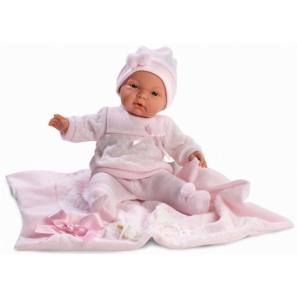 Кукла Жоэль с одеялом, 38 см, LlorensКуклы<br>Характеристики:<br><br>• Предназначение: для сюжетно-ролевых игр<br>• Тип куклы: мягконабивная<br>• Пол куклы: девочка <br>• Волосы: прорисованные<br>• Материал: поливинилхлорид, пластик, текстиль<br>• Цвет: розовый<br>• Высота куклы: 38 см<br>• Комплектация: кукла, ползунки, кофточка, чепчик, плед, пустышка на цепочке<br>• Вес: 1 кг 050 г<br>• Размеры упаковки (Д*В*Ш): 23*45*12 см<br>• Упаковка: подарочная картонная коробка <br>• Особенности ухода: допускается деликатная стирка без использования красящих и отбеливающих средств предметов одежды куклы<br><br>Кукла Жоэль 38 см без звука – кукла, производителем которого является всемирно известный испанский кукольный бренд Llorens. Куклы этой торговой марки имеют свою неповторимую внешность и целую линейку образов как пупсов, так и кукол-малышей. Игрушки выполнены из сочетания поливинилхлорида и пластика, что позволяет с высокой долей достоверности воссоздать физиологические и мимические особенности маленьких детей. При изготовлении кукол Llorens используются только сертифицированные материалы, безопасные и не вызывающие аллергических реакций. Волосы у кукол-пупсов прорисованные; ручки и ножки двигаются.<br>Кукла Жоэль 38 см без звука выполнена в образе очаровательной малышки: голубые глазки и пухлые щечки создают невероятно очаровательный и милый образ. В комплект одежды Жоэль входит костюмчик нежно-розового цвета, состоящий из ползунков, кофточки и чепчика. У малышки имеется соска на цепочке-держателе. Кроме того, предусмотрен плед-одеяло, декорированный атласным бантиком.<br>Кукла Жоэль 38 см без звука – это идеальный вариант для подарка к различным праздникам и торжествам.<br><br>Куклу Жоэль 38 см без звука можно купить в нашем интернет-магазине.<br><br>Ширина мм: 23<br>Глубина мм: 45<br>Высота мм: 12<br>Вес г: 1050<br>Возраст от месяцев: 36<br>Возраст до месяцев: 84<br>Пол: Женский<br>Возраст: Детский<br>SKU: 5086912