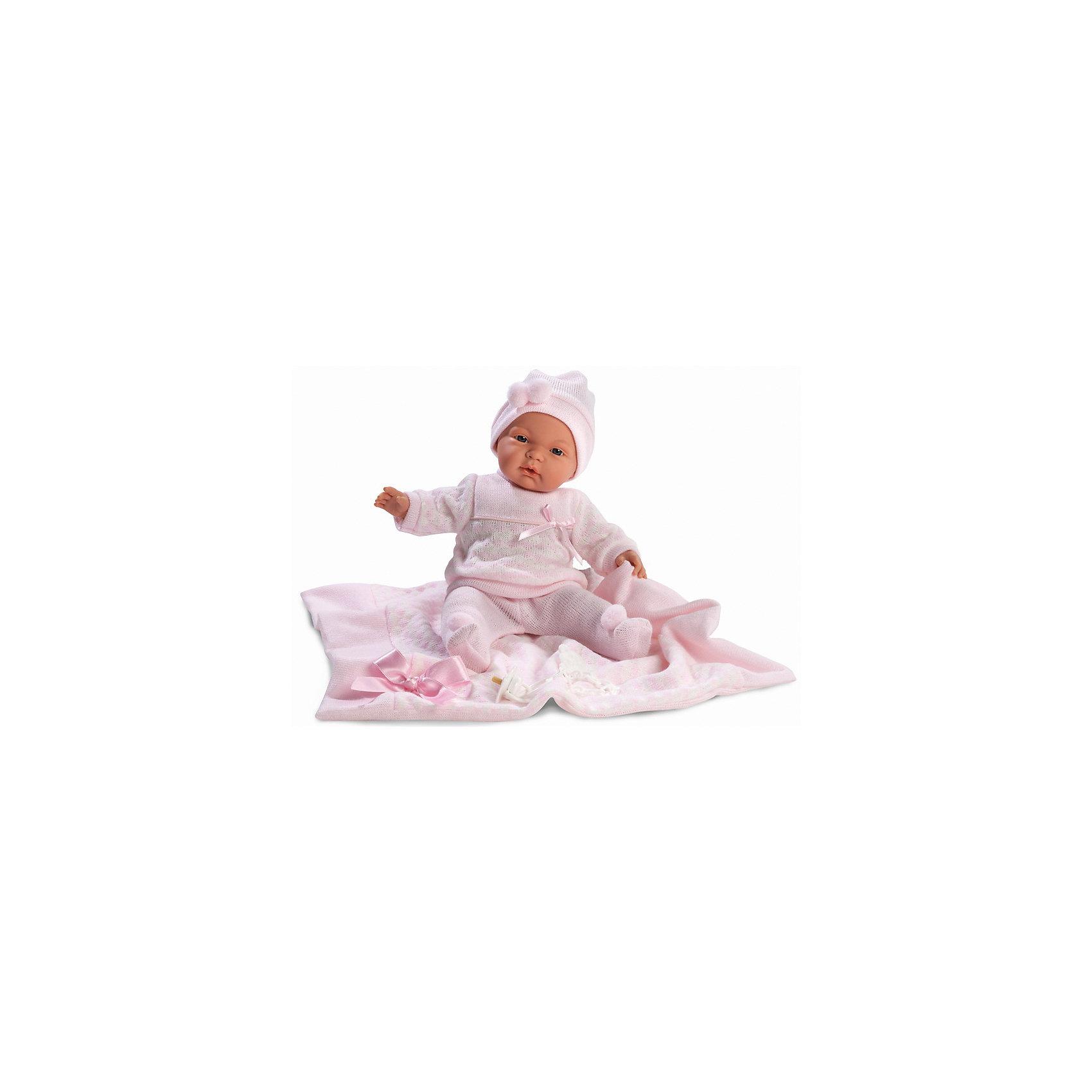 Кукла Жоэль с одеялом, 38 см, LlorensКлассические куклы<br>Характеристики:<br><br>• Предназначение: для сюжетно-ролевых игр<br>• Тип куклы: мягконабивная<br>• Пол куклы: девочка <br>• Волосы: прорисованные<br>• Материал: поливинилхлорид, пластик, текстиль<br>• Цвет: розовый<br>• Высота куклы: 38 см<br>• Комплектация: кукла, ползунки, кофточка, чепчик, плед, пустышка на цепочке<br>• Вес: 1 кг 050 г<br>• Размеры упаковки (Д*В*Ш): 23*45*12 см<br>• Упаковка: подарочная картонная коробка <br>• Особенности ухода: допускается деликатная стирка без использования красящих и отбеливающих средств предметов одежды куклы<br><br>Кукла Жоэль 38 см без звука – кукла, производителем которого является всемирно известный испанский кукольный бренд Llorens. Куклы этой торговой марки имеют свою неповторимую внешность и целую линейку образов как пупсов, так и кукол-малышей. Игрушки выполнены из сочетания поливинилхлорида и пластика, что позволяет с высокой долей достоверности воссоздать физиологические и мимические особенности маленьких детей. При изготовлении кукол Llorens используются только сертифицированные материалы, безопасные и не вызывающие аллергических реакций. Волосы у кукол-пупсов прорисованные; ручки и ножки двигаются.<br>Кукла Жоэль 38 см без звука выполнена в образе очаровательной малышки: голубые глазки и пухлые щечки создают невероятно очаровательный и милый образ. В комплект одежды Жоэль входит костюмчик нежно-розового цвета, состоящий из ползунков, кофточки и чепчика. У малышки имеется соска на цепочке-держателе. Кроме того, предусмотрен плед-одеяло, декорированный атласным бантиком.<br>Кукла Жоэль 38 см без звука – это идеальный вариант для подарка к различным праздникам и торжествам.<br><br>Куклу Жоэль 38 см без звука можно купить в нашем интернет-магазине.<br><br>Ширина мм: 23<br>Глубина мм: 45<br>Высота мм: 12<br>Вес г: 1050<br>Возраст от месяцев: 36<br>Возраст до месяцев: 84<br>Пол: Женский<br>Возраст: Детский<br>SKU: 5086912