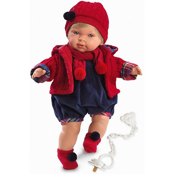 Кукла Мигуэль, 42 см, LlorensКуклы<br>Характеристики:<br><br>• Предназначение: для сюжетно-ролевых игр<br>• Тип куклы: мягконабивная<br>• Пол куклы: мальчик <br>• Цвет волос: блондин<br>• Материал: поливинилхлорид, пластик, нейлон, текстиль<br>• Цвет: красный, синий<br>• Высота куклы: 38 см<br>• Комплектация: кукла, комбинезон, кофточка, носочки, шапочка, шарфик, пустышка с держателем<br>• Звуковые эффекты: плачет, произносит мама и папа<br>• Батарейки: з шт. типа AG13/LR44 (предусмотрены в комплекте)<br>• Вес: 1 кг 200 г<br>• Размеры упаковки (Д*В*Ш): 23*45*12 см<br>• Упаковка: подарочная картонная коробка <br>• Особенности ухода: допускается деликатная стирка без использования красящих и отбеливающих средств предметов одежды куклы<br><br>Кукла Мигуэль 38 см – кукла, производителем которого является всемирно известный испанский кукольный бренд Llorens. Куклы этой торговой марки имеют свою неповторимую внешность и целую линейку образов как пупсов, так и кукол-малышей. Игрушки выполнены из сочетания поливинилхлорида и пластика, что позволяет с высокой долей достоверности воссоздать физиологические и мимические особенности маленьких детей. При изготовлении кукол Llorens используются только сертифицированные материалы, безопасные и не вызывающие аллергических реакций. Волосы у кукол отличаются густотой, шелковистостью и блеском, при расчесывании они не выпадают и не ломаются.<br>Кукла Мигуэль 38 см выполнена в образе малыша: голубые глаза и светлые волосы делают образ куклы необычайно очаровательным. В комплект одежды Мигуэля входит теплый комбинезон, теплая вязаная кофточка с капюшоном, шапочка с помпоном и носочки с помпончиками. Мигуэль умеет плакать, а также говорить мама и папа. Чтобы малыш не плакал, у него имеется соска с держателем. <br>Кукла Мигуэль 38 см – это идеальный вариант для подарка к различным праздникам и торжествам.<br><br>Куклу Мигуэля 38 см можно купить в нашем интернет-магазине.<br><br>Ширина мм: 23<br>Глубина мм: 45<br>Высота мм: 12<br>Вес г: 12