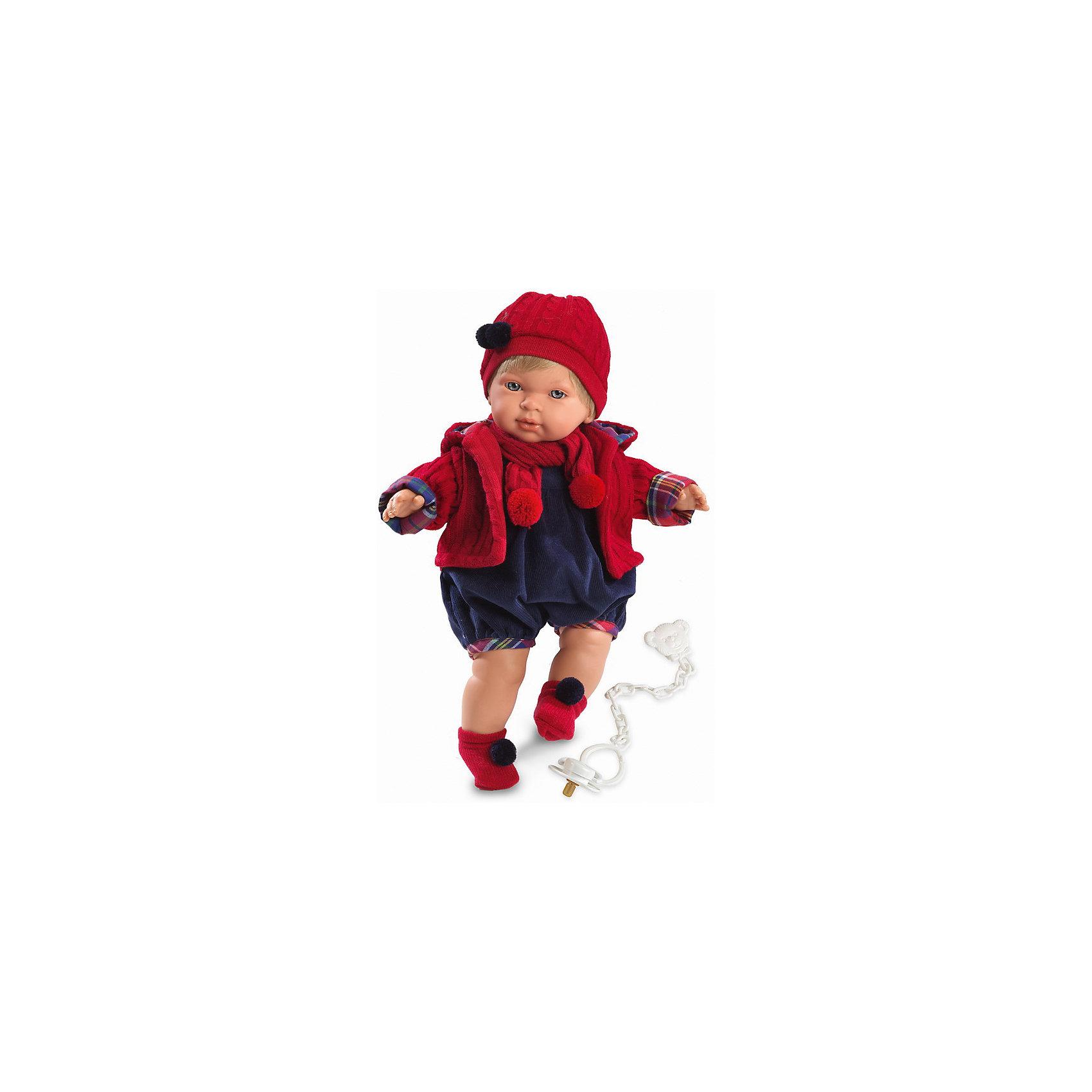 Кукла Мигуэль, 42 см, LlorensКлассические куклы<br>Характеристики:<br><br>• Предназначение: для сюжетно-ролевых игр<br>• Тип куклы: мягконабивная<br>• Пол куклы: мальчик <br>• Цвет волос: блондин<br>• Материал: поливинилхлорид, пластик, нейлон, текстиль<br>• Цвет: красный, синий<br>• Высота куклы: 38 см<br>• Комплектация: кукла, комбинезон, кофточка, носочки, шапочка, шарфик, пустышка с держателем<br>• Звуковые эффекты: плачет, произносит мама и папа<br>• Батарейки: з шт. типа AG13/LR44 (предусмотрены в комплекте)<br>• Вес: 1 кг 200 г<br>• Размеры упаковки (Д*В*Ш): 23*45*12 см<br>• Упаковка: подарочная картонная коробка <br>• Особенности ухода: допускается деликатная стирка без использования красящих и отбеливающих средств предметов одежды куклы<br><br>Кукла Мигуэль 38 см – кукла, производителем которого является всемирно известный испанский кукольный бренд Llorens. Куклы этой торговой марки имеют свою неповторимую внешность и целую линейку образов как пупсов, так и кукол-малышей. Игрушки выполнены из сочетания поливинилхлорида и пластика, что позволяет с высокой долей достоверности воссоздать физиологические и мимические особенности маленьких детей. При изготовлении кукол Llorens используются только сертифицированные материалы, безопасные и не вызывающие аллергических реакций. Волосы у кукол отличаются густотой, шелковистостью и блеском, при расчесывании они не выпадают и не ломаются.<br>Кукла Мигуэль 38 см выполнена в образе малыша: голубые глаза и светлые волосы делают образ куклы необычайно очаровательным. В комплект одежды Мигуэля входит теплый комбинезон, теплая вязаная кофточка с капюшоном, шапочка с помпоном и носочки с помпончиками. Мигуэль умеет плакать, а также говорить мама и папа. Чтобы малыш не плакал, у него имеется соска с держателем. <br>Кукла Мигуэль 38 см – это идеальный вариант для подарка к различным праздникам и торжествам.<br><br>Куклу Мигуэля 38 см можно купить в нашем интернет-магазине.<br><br>Ширина мм: 23<br>Глубина мм: 45<br>Высота мм: 12