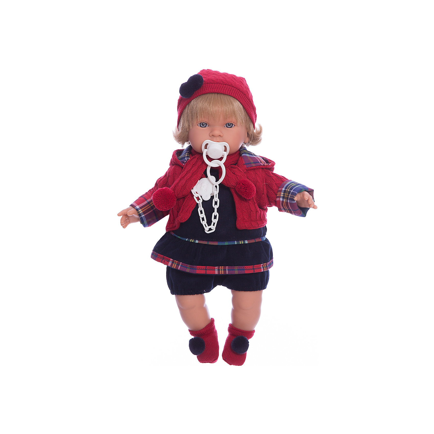 Кукла Марина, 42 см, LlorensКлассические куклы<br>Характеристики:<br><br>• Предназначение: для сюжетно-ролевых игр<br>• Тип куклы: мягконабивная<br>• Пол куклы: девочка <br>• Цвет волос: блондинка<br>• Материал: поливинилхлорид, пластик, нейлон, текстиль<br>• Цвет: синий, красный<br>• Высота куклы: 42 см<br>• Комплектация: кукла, платье, курточка, шапочка, шарф, пинетки, пустышка на цепочке<br>• Вес: 1 кг 360 г<br>• Размеры упаковки (Д*В*Ш): 23*45*12 см<br>• Упаковка: подарочная картонная коробка <br>• Особенности ухода: допускается деликатная стирка без использования красящих и отбеливающих средств предметов одежды куклы<br><br>Кукла Марина 42 см без звука – кукла, производителем которого является всемирно известный испанский кукольный бренд Llorens. Куклы этой торговой марки имеют свою неповторимую внешность и целую линейку образов как пупсов, так и кукол-малышей. Игрушки выполнены из сочетания поливинилхлорида и пластика, что позволяет с высокой долей достоверности воссоздать физиологические и мимические особенности маленьких детей. При изготовлении кукол Llorens используются только сертифицированные материалы, безопасные и не вызывающие аллергических реакций. Волосы у кукол отличаются густотой, шелковистостью и блеском, при расчесывании они не выпадают и не ломаются.<br>Кукла Марина 42 см без звука выполнена в образе малышки: у нее светлые волосы до плеч и голубые глаза. Яркий комплект осенней одежды Марины состоит из вельветового платьица темно-синего цвета, курточки, вязаных с одинаковым рисунком шапочки и шарфа, но ножках – носочки с помпонами. У малышки имеется соска на цепочке-держателе. <br>Кукла Марина 42 см без звука – это идеальный вариант для подарка к различным праздникам и торжествам.<br><br>Куклу Марину 42 см без звука можно купить в нашем интернет-магазине.<br><br>Ширина мм: 23<br>Глубина мм: 45<br>Высота мм: 12<br>Вес г: 1360<br>Возраст от месяцев: 36<br>Возраст до месяцев: 84<br>Пол: Женский<br>Возраст: Детский<br>SKU: 5086914