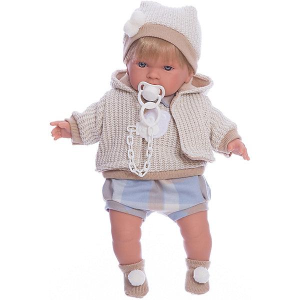 Кукла Альваро, 42 см, LlorensБренды кукол<br>Характеристики:<br><br>• Предназначение: для сюжетно-ролевых игр<br>• Тип куклы: мягконабивная<br>• Пол куклы: мальчик <br>• Цвет волос: блондин<br>• Материал: поливинилхлорид, пластик, нейлон, текстиль<br>• Цвет: бежевый, белый, голубой<br>• Высота куклы: 42 см<br>• Комплектация: кукла, комбинезон, курточка, шапочка, шарф, пинетки, пустышка на цепочке<br>• Вес: 1 кг 360 г<br>• Размеры упаковки (Д*В*Ш): 23*45*12 см<br>• Упаковка: подарочная картонная коробка <br>• Особенности ухода: допускается деликатная стирка без использования красящих и отбеливающих средств предметов одежды куклы<br><br>Кукла Альваро 42 см без звука – кукла, производителем которого является всемирно известный испанский кукольный бренд Llorens. Куклы этой торговой марки имеют свою неповторимую внешность и целую линейку образов как пупсов, так и кукол-малышей. Игрушки выполнены из сочетания поливинилхлорида и пластика, что позволяет с высокой долей достоверности воссоздать физиологические и мимические особенности маленьких детей. При изготовлении кукол Llorens используются только сертифицированные материалы, безопасные и не вызывающие аллергических реакций. Волосы у кукол отличаются густотой, шелковистостью и блеском, при расчесывании они не выпадают и не ломаются.<br>Кукла Альваро 42 см без звука выполнена в образе малыша: у него светлые волосы, курносый носик и голубые глаза. Модный комплект осенней одежды Альваро состоит из комбинезона, вязаной жилеткис аппликацией на груди в виде мишки, кофточки с капюшоном, шапочки, на ножках – носочки с помпонами. У малыша имеется соска на цепочке-держателе. <br>Кукла Альваро 42 см без звука – это идеальный вариант для подарка к различным праздникам и торжествам.<br><br>Куклу Альваро 42 см без звука можно купить в нашем интернет-магазине.<br>Ширина мм: 23; Глубина мм: 45; Высота мм: 12; Вес г: 1360; Возраст от месяцев: 36; Возраст до месяцев: 84; Пол: Женский; Возраст: Детский; SKU: 5086915;