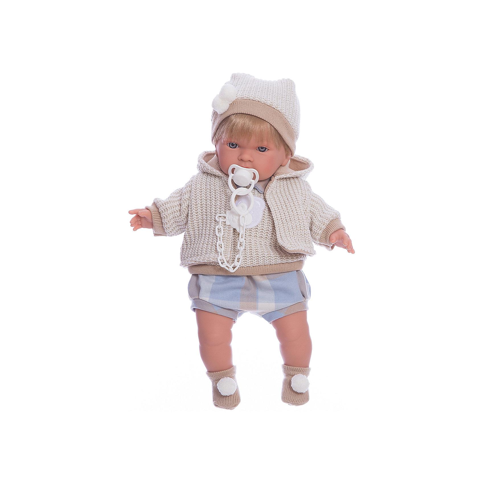 Кукла Альваро, 42 см, LlorensКлассические куклы<br>Характеристики:<br><br>• Предназначение: для сюжетно-ролевых игр<br>• Тип куклы: мягконабивная<br>• Пол куклы: мальчик <br>• Цвет волос: блондин<br>• Материал: поливинилхлорид, пластик, нейлон, текстиль<br>• Цвет: бежевый, белый, голубой<br>• Высота куклы: 42 см<br>• Комплектация: кукла, комбинезон, курточка, шапочка, шарф, пинетки, пустышка на цепочке<br>• Вес: 1 кг 360 г<br>• Размеры упаковки (Д*В*Ш): 23*45*12 см<br>• Упаковка: подарочная картонная коробка <br>• Особенности ухода: допускается деликатная стирка без использования красящих и отбеливающих средств предметов одежды куклы<br><br>Кукла Альваро 42 см без звука – кукла, производителем которого является всемирно известный испанский кукольный бренд Llorens. Куклы этой торговой марки имеют свою неповторимую внешность и целую линейку образов как пупсов, так и кукол-малышей. Игрушки выполнены из сочетания поливинилхлорида и пластика, что позволяет с высокой долей достоверности воссоздать физиологические и мимические особенности маленьких детей. При изготовлении кукол Llorens используются только сертифицированные материалы, безопасные и не вызывающие аллергических реакций. Волосы у кукол отличаются густотой, шелковистостью и блеском, при расчесывании они не выпадают и не ломаются.<br>Кукла Альваро 42 см без звука выполнена в образе малыша: у него светлые волосы, курносый носик и голубые глаза. Модный комплект осенней одежды Альваро состоит из комбинезона, вязаной жилеткис аппликацией на груди в виде мишки, кофточки с капюшоном, шапочки, на ножках – носочки с помпонами. У малыша имеется соска на цепочке-держателе. <br>Кукла Альваро 42 см без звука – это идеальный вариант для подарка к различным праздникам и торжествам.<br><br>Куклу Альваро 42 см без звука можно купить в нашем интернет-магазине.<br><br>Ширина мм: 23<br>Глубина мм: 45<br>Высота мм: 12<br>Вес г: 1360<br>Возраст от месяцев: 36<br>Возраст до месяцев: 84<br>Пол: Женский<br>Возраст: Детский<br>SKU: 50869