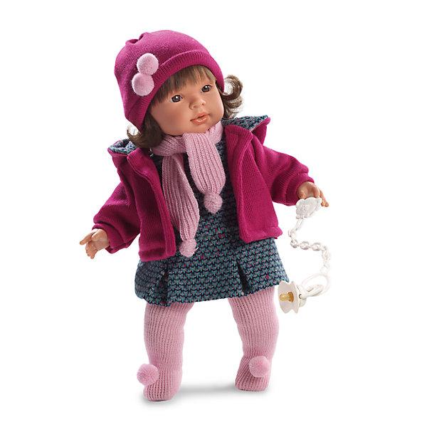 Кукла Карла, 42 см, LlorensКуклы<br>Характеристики:<br><br>• Предназначение: для сюжетно-ролевых игр<br>• Тип куклы: мягконабивная<br>• Пол куклы: девочка <br>• Цвет волос: брюнетка<br>• Материал: поливинилхлорид, пластик, нейлон, текстиль<br>• Цвет: оттенки розового, серый, сиреневый<br>• Высота куклы: 42 см<br>• Комплектация: кукла, платье, курточка, шапочка, колготки, пустышка на ленточке<br>• Вес: 1 кг 360 г<br>• Размеры упаковки (Д*В*Ш): 23*45*10 см<br>• Упаковка: подарочная картонная коробка <br>• Особенности ухода: допускается деликатная стирка без использования красящих и отбеливающих средств предметов одежды куклы<br><br>Кукла Карла 42 см без звука – кукла, производителем которого является всемирно известный испанский кукольный бренд Llorens. Куклы этой торговой марки имеют свою неповторимую внешность и целую линейку образов как пупсов, так и кукол-малышей. Игрушки выполнены из сочетания поливинилхлорида и пластика, что позволяет с высокой долей достоверности воссоздать физиологические и мимические особенности маленьких детей. При изготовлении кукол Llorens используются только сертифицированные материалы, безопасные и не вызывающие аллергических реакций. Волосы у кукол отличаются густотой, шелковистостью и блеском, при расчесывании они не выпадают и не ломаются.<br>Кукла Карла 42 см без звука выполнена в образе малышки: брюнетка с карими глазами и слегка завитыми волосами средней длины. В комплект одежды Карлы входит теплое платьице с геометрическим принтом, курточка с капюшоном и шапочка с помпонами. У малышки имеется соска на ленточке. <br>Кукла Карла 42 см без звука – это идеальный вариант для подарка к различным праздникам и торжествам.<br><br>Куклу Карлу 42 см без звука можно купить в нашем интернет-магазине.<br><br>Ширина мм: 23<br>Глубина мм: 45<br>Высота мм: 12<br>Вес г: 1360<br>Возраст от месяцев: 36<br>Возраст до месяцев: 84<br>Пол: Женский<br>Возраст: Детский<br>SKU: 5086916