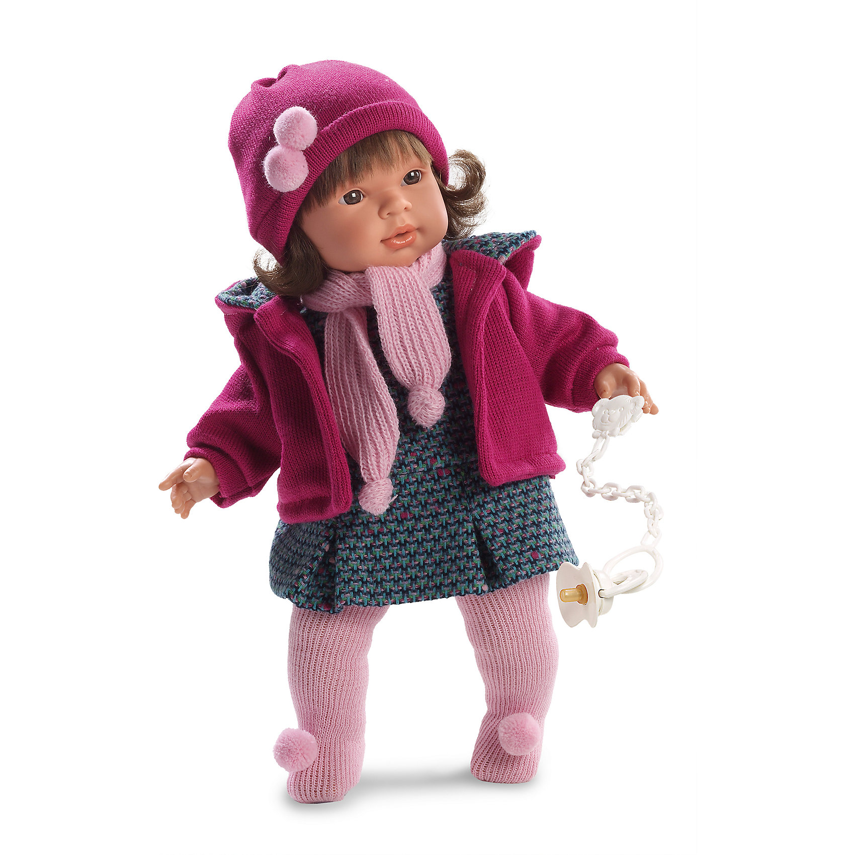 Кукла Карла, 42 см, LlorensХарактеристики:<br><br>• Предназначение: для сюжетно-ролевых игр<br>• Тип куклы: мягконабивная<br>• Пол куклы: девочка <br>• Цвет волос: брюнетка<br>• Материал: поливинилхлорид, пластик, нейлон, текстиль<br>• Цвет: оттенки розового, серый, сиреневый<br>• Высота куклы: 42 см<br>• Комплектация: кукла, платье, курточка, шапочка, колготки, пустышка на ленточке<br>• Вес: 1 кг 360 г<br>• Размеры упаковки (Д*В*Ш): 23*45*10 см<br>• Упаковка: подарочная картонная коробка <br>• Особенности ухода: допускается деликатная стирка без использования красящих и отбеливающих средств предметов одежды куклы<br><br>Кукла Карла 42 см без звука – кукла, производителем которого является всемирно известный испанский кукольный бренд Llorens. Куклы этой торговой марки имеют свою неповторимую внешность и целую линейку образов как пупсов, так и кукол-малышей. Игрушки выполнены из сочетания поливинилхлорида и пластика, что позволяет с высокой долей достоверности воссоздать физиологические и мимические особенности маленьких детей. При изготовлении кукол Llorens используются только сертифицированные материалы, безопасные и не вызывающие аллергических реакций. Волосы у кукол отличаются густотой, шелковистостью и блеском, при расчесывании они не выпадают и не ломаются.<br>Кукла Карла 42 см без звука выполнена в образе малышки: брюнетка с карими глазами и слегка завитыми волосами средней длины. В комплект одежды Карлы входит теплое платьице с геометрическим принтом, курточка с капюшоном и шапочка с помпонами. У малышки имеется соска на ленточке. <br>Кукла Карла 42 см без звука – это идеальный вариант для подарка к различным праздникам и торжествам.<br><br>Куклу Карлу 42 см без звука можно купить в нашем интернет-магазине.<br><br>Ширина мм: 23<br>Глубина мм: 45<br>Высота мм: 12<br>Вес г: 1360<br>Возраст от месяцев: 36<br>Возраст до месяцев: 84<br>Пол: Женский<br>Возраст: Детский<br>SKU: 5086916