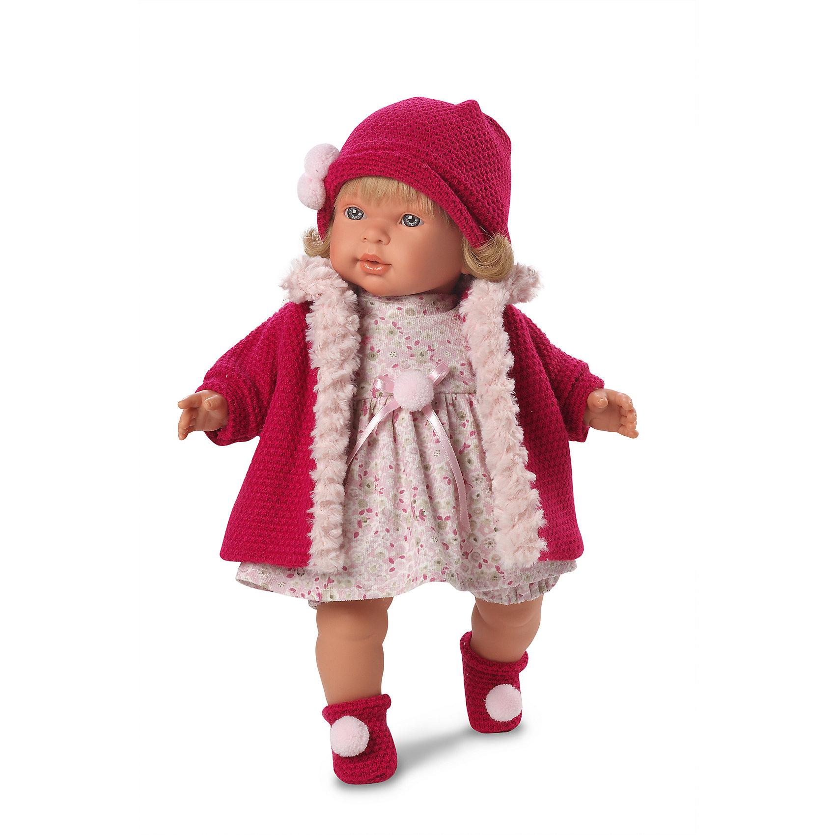 Кукла Даниэла, 42 см, LlorensХарактеристики:<br><br>• Предназначение: для сюжетно-ролевых игр<br>• Тип куклы: мягконабивная<br>• Пол куклы: девочка <br>• Цвет волос: блондинка<br>• Материал: поливинилхлорид, пластик, нейлон, текстиль<br>• Цвет: розовый, красный<br>• Высота куклы: 42 см<br>• Комплектация: кукла, платье, пальто, носочки, шапочка, пустышка с держателем<br>• Звуковые эффекты: плачет, произносит мама и папа<br>• Батарейки: з шт. типа AG13/LR44 (предусмотрены в комплекте)<br>• Вес: 1 кг 360 г<br>• Размеры упаковки (Д*В*Ш): 23*45*12 см<br>• Упаковка: подарочная картонная коробка <br>• Особенности ухода: допускается деликатная стирка без использования красящих и отбеливающих средств предметов одежды куклы<br><br>Кукла Даниэла 42 см – кукла, производителем которого является всемирно известный испанский кукольный бренд Llorens. Куклы этой торговой марки имеют свою неповторимую внешность и целую линейку образов как пупсов, так и кукол-малышей. Игрушки выполнены из сочетания поливинилхлорида и пластика, что позволяет с высокой долей достоверности воссоздать физиологические и мимические особенности маленьких детей. При изготовлении кукол Llorens используются только сертифицированные материалы, безопасные и не вызывающие аллергических реакций. Волосы у кукол отличаются густотой, шелковистостью и блеском, при расчесывании они не выпадают и не ломаются.<br>Кукла Даниэла 42 см выполнена в образе малышки: голубые глаза и слегка завитые волосы средней длины делают образ куклы необычайно очаровательным. В комплект одежды Даниэлы входит легкое платьице с цветочным рисунком, пальто с меховой отделкой, шапочка и носочки с помпончиками. Кукла умеет плакать, а также говорить мама и папа. Чтобы малышка не плакала, у нее имеется соска с цепочкой-держателем. <br>Кукла Даниэла 42см – это идеальный вариант для подарка к различным праздникам и торжествам.<br><br>Куклу Даниэлу 42 см можно купить в нашем интернет-магазине.<br><br>Ширина мм: 23<br>Глубина мм: 45<br>Высота мм: 12<br>