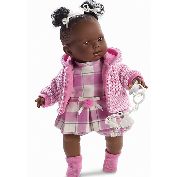 Кукла Николь, 42 см, LlorensКуклы<br>Характеристики:<br><br>• Предназначение: для сюжетно-ролевых игр<br>• Тип куклы: мягконабивная<br>• Пол куклы: девочка <br>• Цвет волос: черный<br>• Материал: поливинилхлорид, пластик, нейлон, текстиль<br>• Цвет: розовый, белый<br>• Высота куклы: 42 см<br>• Комплектация: кукла, платье, кофточка с капюшоном, носочки, пустышка на цепочке<br>• Вес: 1 кг 360 г<br>• Размеры упаковки (Д*В*Ш): 23*45*12 см<br>• Упаковка: подарочная картонная коробка <br>• Особенности ухода: допускается деликатная стирка без использования красящих и отбеливающих средств предметов одежды куклы<br><br>Кукла Николь 42 см без звука – кукла, производителем которого является всемирно известный испанский кукольный бренд Llorens. Куклы этой торговой марки имеют свою неповторимую внешность и целую линейку образов как пупсов, так и кукол-малышей. Игрушки выполнены из сочетания поливинилхлорида и пластика, что позволяет с высокой долей достоверности воссоздать физиологические и мимические особенности маленьких детей. При изготовлении кукол Llorens используются только сертифицированные материалы, безопасные и не вызывающие аллергических реакций. Волосы у кукол отличаются густотой, шелковистостью и блеском, при расчесывании они не выпадают и не ломаются.<br>Кукла Николь 42 см без звука выполнена в образе малышки-афроамериканки: у нее черные кудрявые волосы, собранные в два хвостика, и карие глаза. Комплект одежды Николь состоит из клетчатого платьица с пояском, вязаной кофточки с капюшоном и розовых носочков. У малышки имеется соска на цепочке-держателе. <br>Кукла Николь 42 см без звука – это идеальный вариант для подарка к различным праздникам и торжествам.<br><br>Куклу Николь 42 см без звука можно купить в нашем интернет-магазине.<br><br>Ширина мм: 23<br>Глубина мм: 45<br>Высота мм: 12<br>Вес г: 1360<br>Возраст от месяцев: 36<br>Возраст до месяцев: 84<br>Пол: Женский<br>Возраст: Детский<br>SKU: 5086920
