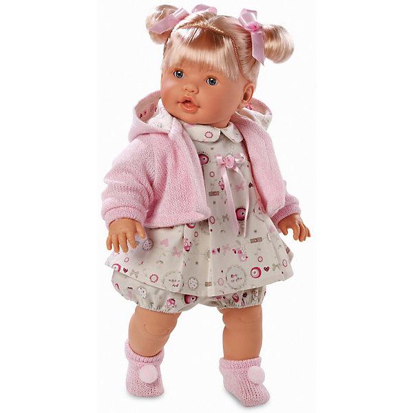 Кукла, 48 см, LlorensКуклы<br>Характеристики:<br><br>• Предназначение: для сюжетно-ролевых игр<br>• Тип куклы: мягконабивная<br>• Пол куклы: девочка <br>• Цвет волос: блондинка<br>• Материал: поливинилхлорид, пластик, нейлон, текстиль<br>• Цвет: розовый, белый, бежевый<br>• Высота куклы: 48 см<br>• Комплектация: кукла, платье, панталончики, носочки, кофточка<br>• Вес: 1 кг 750 г<br>• Размеры упаковки (Д*В*Ш): 23*45*12 см<br>• Упаковка: подарочная картонная коробка <br>• Особенности ухода: допускается деликатная стирка без использования красящих и отбеливающих средств предметов одежды куклы<br><br>Кукла 48 см без звука – кукла, производителем которого является всемирно известный испанский кукольный бренд Llorens. Куклы этой торговой марки имеют свою неповторимую внешность и целую линейку образов как пупсов, так и кукол-малышей. Игрушки выполнены из сочетания поливинилхлорида и пластика, что позволяет с высокой долей достоверности воссоздать физиологические и мимические особенности маленьких детей. При изготовлении кукол Llorens используются только сертифицированные материалы, безопасные и не вызывающие аллергических реакций. Волосы у кукол отличаются густотой, шелковистостью и блеском, при расчесывании они не выпадают и не ломаются.<br>Кукла 48 см без звука выполнена в образе малышки: у нее светлые волосы, собранные в два хвостика, и голубые глаза. Комплект одежды состоит из платьица с отложным воротничком, панталончиков, вязаной кофточки с капюшоном и розовых носочков с белыми помпонами.<br>Кукла 48 см без звука – это идеальный вариант для подарка к различным праздникам и торжествам.<br><br>Куклу 48 см без звука можно купить в нашем интернет-магазине.<br><br>Ширина мм: 23<br>Глубина мм: 45<br>Высота мм: 12<br>Вес г: 1750<br>Возраст от месяцев: 36<br>Возраст до месяцев: 84<br>Пол: Женский<br>Возраст: Детский<br>SKU: 5086921