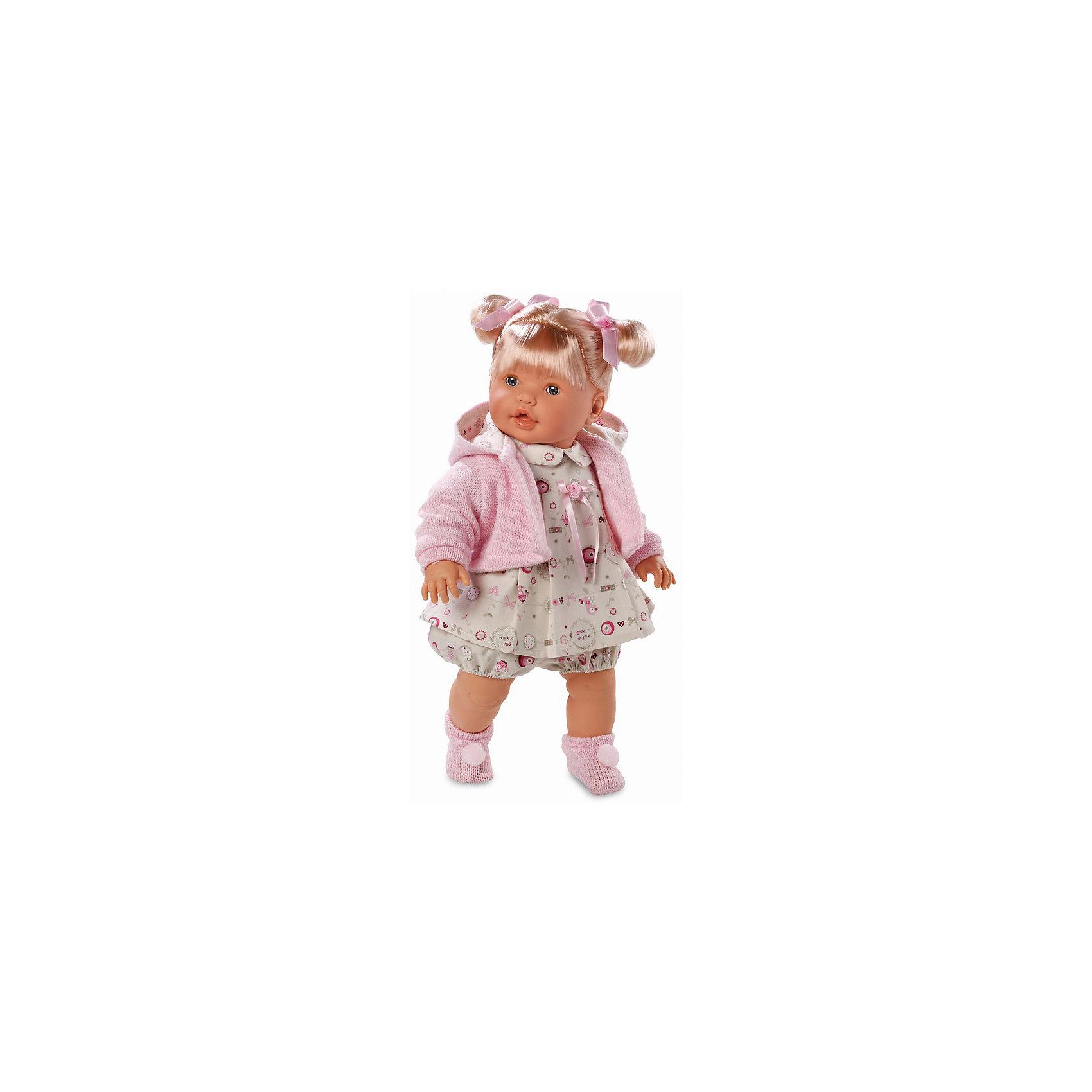 Кукла, 48 см, LlorensХарактеристики:<br><br>• Предназначение: для сюжетно-ролевых игр<br>• Тип куклы: мягконабивная<br>• Пол куклы: девочка <br>• Цвет волос: блондинка<br>• Материал: поливинилхлорид, пластик, нейлон, текстиль<br>• Цвет: розовый, белый, бежевый<br>• Высота куклы: 48 см<br>• Комплектация: кукла, платье, панталончики, носочки, кофточка<br>• Вес: 1 кг 750 г<br>• Размеры упаковки (Д*В*Ш): 23*45*12 см<br>• Упаковка: подарочная картонная коробка <br>• Особенности ухода: допускается деликатная стирка без использования красящих и отбеливающих средств предметов одежды куклы<br><br>Кукла 48 см без звука – кукла, производителем которого является всемирно известный испанский кукольный бренд Llorens. Куклы этой торговой марки имеют свою неповторимую внешность и целую линейку образов как пупсов, так и кукол-малышей. Игрушки выполнены из сочетания поливинилхлорида и пластика, что позволяет с высокой долей достоверности воссоздать физиологические и мимические особенности маленьких детей. При изготовлении кукол Llorens используются только сертифицированные материалы, безопасные и не вызывающие аллергических реакций. Волосы у кукол отличаются густотой, шелковистостью и блеском, при расчесывании они не выпадают и не ломаются.<br>Кукла 48 см без звука выполнена в образе малышки: у нее светлые волосы, собранные в два хвостика, и голубые глаза. Комплект одежды состоит из платьица с отложным воротничком, панталончиков, вязаной кофточки с капюшоном и розовых носочков с белыми помпонами.<br>Кукла 48 см без звука – это идеальный вариант для подарка к различным праздникам и торжествам.<br><br>Куклу 48 см без звука можно купить в нашем интернет-магазине.<br><br>Ширина мм: 23<br>Глубина мм: 45<br>Высота мм: 12<br>Вес г: 1750<br>Возраст от месяцев: 36<br>Возраст до месяцев: 84<br>Пол: Женский<br>Возраст: Детский<br>SKU: 5086921