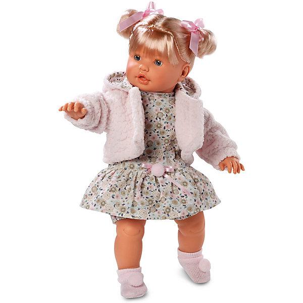 Кукла, 48 см, LlorensБренды кукол<br>Характеристики:<br><br>• Предназначение: для сюжетно-ролевых игр<br>• Тип куклы: мягконабивная<br>• Пол куклы: девочка <br>• Цвет волос: блондинка<br>• Материал: поливинилхлорид, пластик, нейлон, текстиль<br>• Цвет: розовый, белый, коричневый<br>• Высота куклы: 48 см<br>• Комплектация: кукла, платье, панталончики, носочки, шубка<br>• Вес: 1 кг 550 г<br>• Размеры упаковки (Д*В*Ш): 23*45*12 см<br>• Упаковка: подарочная картонная коробка <br>• Особенности ухода: допускается деликатная стирка без использования красящих и отбеливающих средств предметов одежды куклы<br><br>Кукла 48 см без звука – кукла, производителем которого является всемирно известный испанский кукольный бренд Llorens. Куклы этой торговой марки имеют свою неповторимую внешность и целую линейку образов как пупсов, так и кукол-малышей. Игрушки выполнены из сочетания поливинилхлорида и пластика, что позволяет с высокой долей достоверности воссоздать физиологические и мимические особенности маленьких детей. При изготовлении кукол Llorens используются только сертифицированные материалы, безопасные и не вызывающие аллергических реакций. Волосы у кукол отличаются густотой, шелковистостью и блеском, при расчесывании они не выпадают и не ломаются.<br>Кукла 48 см без звука выполнена в образе малышки: у нее светлые волосы, собранные в два хвостика, и голубые глаза. Комплект одежды состоит из платьица с цветочным принтом, панталончиков, короткой розовой шубки с капюшоном и розовых носочков с розовыми помпонами.<br>Кукла 48 см без звука – это идеальный вариант для подарка к различным праздникам и торжествам.<br><br>Куклу 48 см без звука можно купить в нашем интернет-магазине.<br>Ширина мм: 23; Глубина мм: 45; Высота мм: 12; Вес г: 1550; Возраст от месяцев: 36; Возраст до месяцев: 84; Пол: Женский; Возраст: Детский; SKU: 5086922;